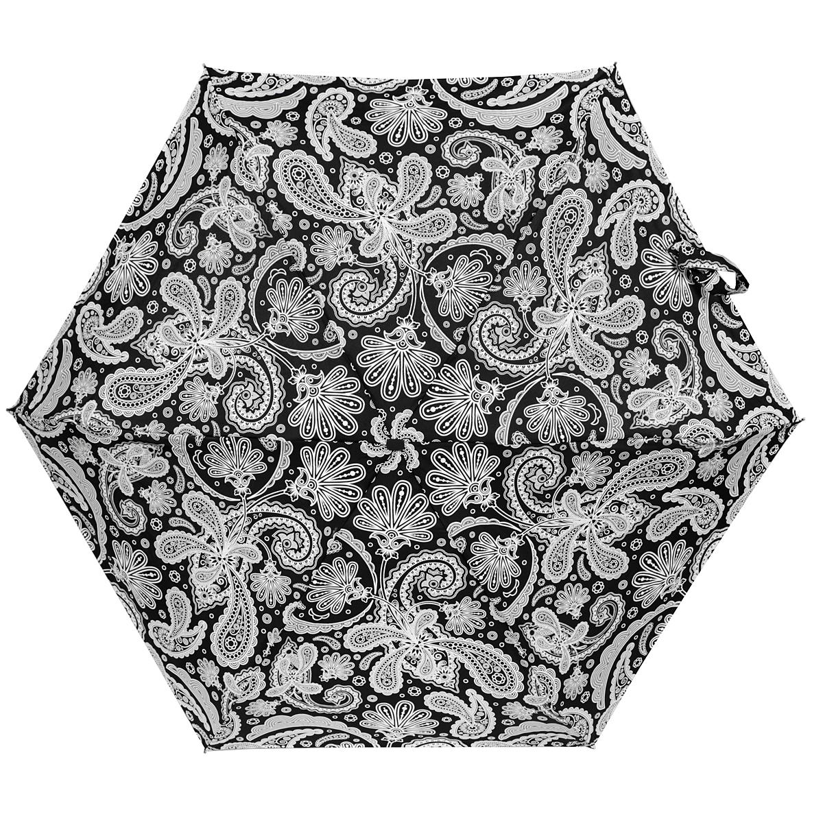 Зонт женский Zest, механический, 5 сложений, цвет: черный, белый. 25569-1191
