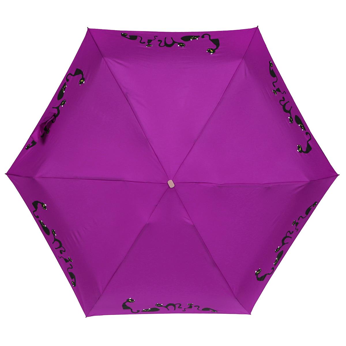 Зонт женский Zest, механический, 5 сложений, цвет: фиолетовый. 25569-102325569-1023Элегантный механический зонт Zest в 5 сложений изготовлен из высокопрочных материалов. Каркас зонта состоит из 6 спиц и прочного алюминиевого стержня. Специальная система Windproof защищает его от поломок во время сильных порывов ветра. Купол зонта выполнен из прочного полиэстера с водоотталкивающей пропиткой и оформлен изображением прелестных кошечек. Используемые высококачественные красители обеспечивают длительное сохранение свойств ткани купола. Рукоятка, разработанная с учетом требований эргономики, выполнена из пластика.Зонт механического сложения: купол открывается и закрывается вручную до характерного щелчка.Небольшой шнурок, расположенный на рукоятке, позволяет надеть изделие на руку при необходимости. Модель закрывается при помощи хлястика на застежку-липучку. К зонту прилагается чехол.Очаровательный зонт не только выручит вас в ненастную погоду, но и станет стильным аксессуаром, который прекрасно дополнит ваш модный образ.