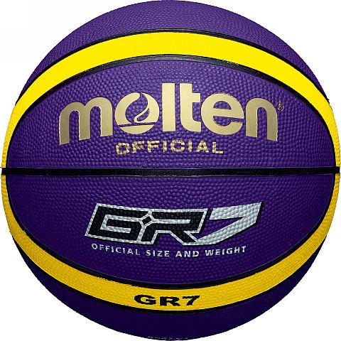 Мяч баскетбольный Molten GR7, цвет: синий. Размер 7120330_yellow/blackБаскетбольный мяч Molten произведен из специальной резины с увеличенной износостойкостью. Имеет шероховатую поверхность. 12-панельный дизайн. Предназначен для профессиональных тренировок. Мяч доставляется в ненакачанном виде.