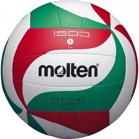 Мяч волейбольный Molten V5M1500, цвет: белый, красный, зеленый. Размер 505818Модель мяча Molten из мягкой синтетической кожи отлично подойдет для школьных тренировок и любительской игры. Оригинальный дизайн панелей. Машинное шитье.