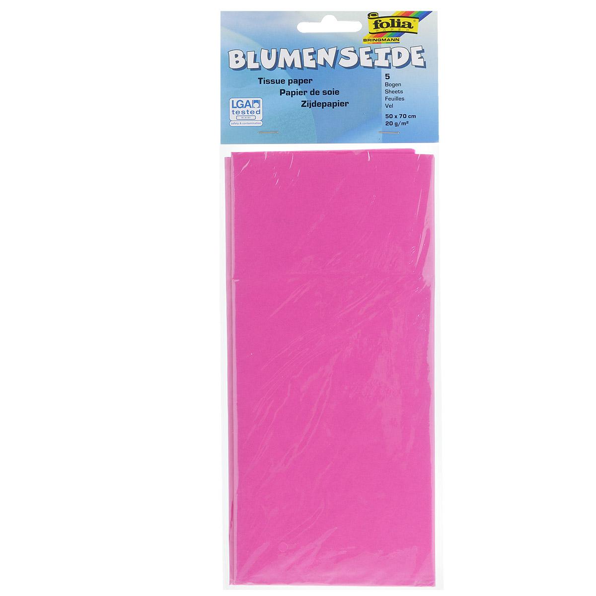 Бумага папиросная Folia, цвет: розовый (21), 50 см х 70 см, 5 листов. 7708123_2155052Бумага папиросная Folia - это великолепная тонкая и эластичная декоративная бумага. Такая бумага очень хороша для изготовления своими руками цветов и букетов с конфетами, топиариев, декорирования праздничных мероприятий. Также из нее получается шикарная упаковка для подарков. Интересный эффект дает сочетание мягкой полупрозрачной фактуры папиросной бумаги с жатыми и матовыми фактурами: креп-бумагой, тутовой и различными видами картона. Бумага очень тонкая, полупрозрачная - поэтому ее можно оригинально использовать в декоре стекла, светильников и гирлянд. Достаточно большие размеры листа и богатая цветовая палитра дают простор вашей творческой фантазии. Размер листа: 50 см х 70 см.Плотность: 20 г/м2.