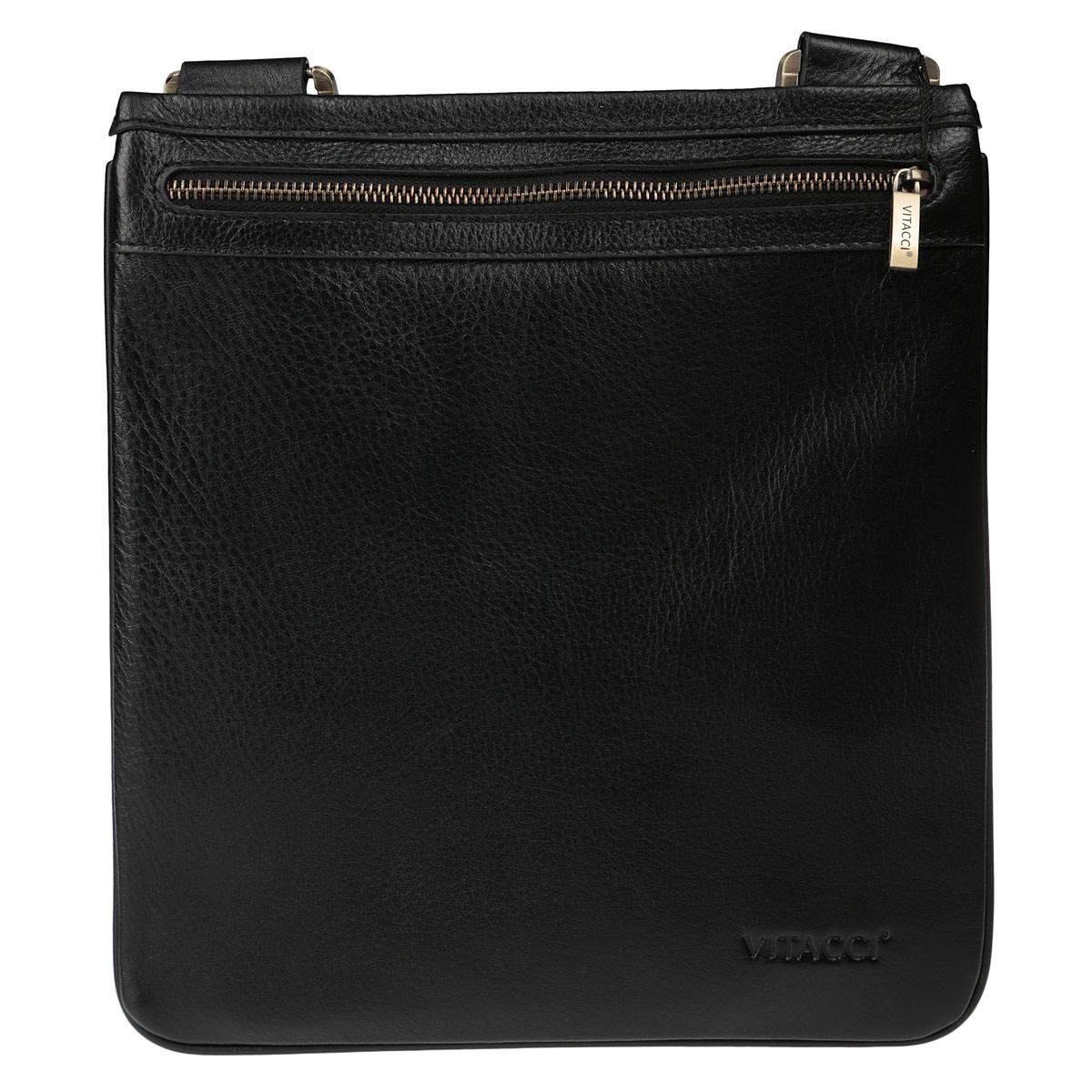 Сумка мужская Vitacci, цвет: черный. LB0038S76245Стильная мужская сумка Vitacci выполнена из натуральной кожи и оформлена тиснением в виде логотипа бренда. Модель состоит из одного большого отделения, застегивающегося на застежку-молнию. Плечевой ремень регулируется по длине. Отличная модель, которая подчеркнет ваш образ.