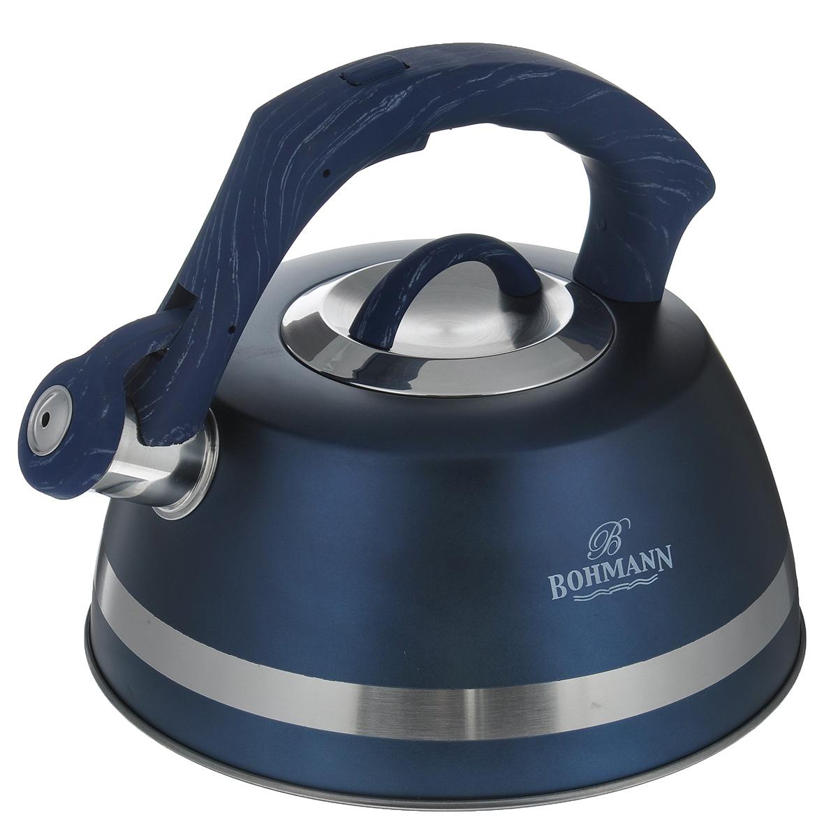 Чайник Bohmann со свистком, цвет: синий, 3,5 л. BH - 996754 009312Чайник Bohmann изготовлен из высококачественной нержавеющей стали с матовым цветным покрытием. Фиксированная ручка изготовлена из бакелита с прорезиненным покрытием. Носик чайника оснащен откидным свистком, звуковой сигнал которого подскажет, когда закипит вода. Свисток открывается нажатием кнопки на ручке.Чайник Bohmann - качественное исполнение и стильное решение для вашей кухни. Подходит для использования на газовых, стеклокерамических, электрических, галогеновых и индукционных плитах. Также изделие можно мыть в посудомоечной машине. Высота чайника (без учета ручки и крышки): 10,5 см. Высота чайника (с учетом ручки): 19 см. Диаметр основания чайника: 22,5 см. Диаметр чайника (по верхнему краю): 10 см.