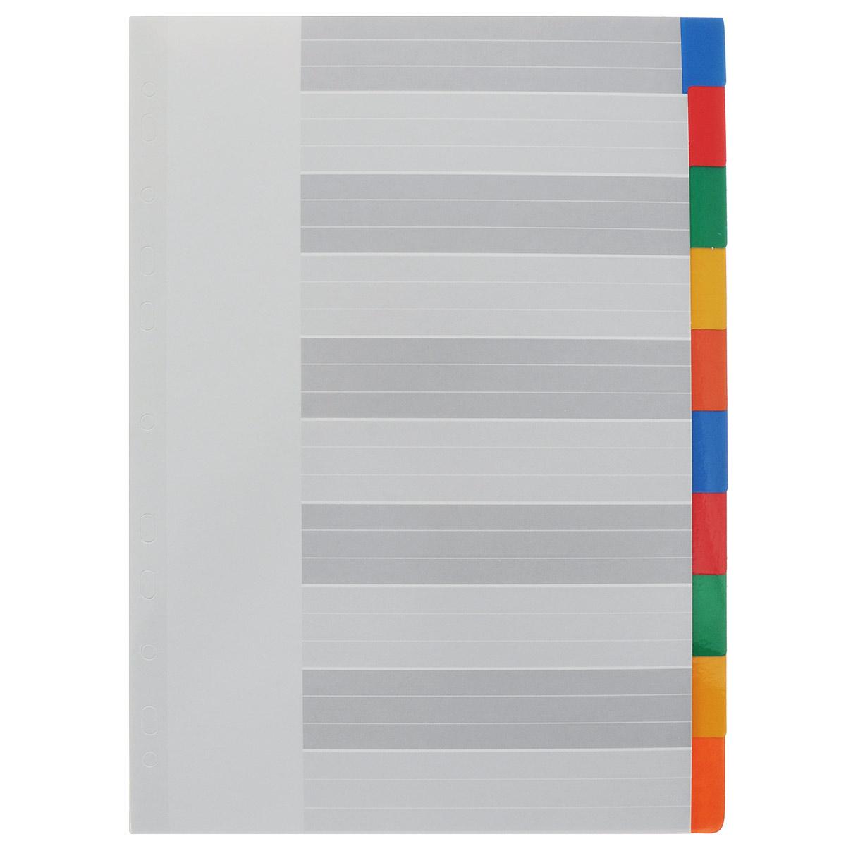 """Разделители из набора Berlingo """"Цветовой"""" предназначены для хранения и классификации документов формата А4 в папках или тетрадях на кольцах. Изготовлены из картона со вставками 10 разных цветов. Имеют боковую мультиперфорацию. В наборе 10 разделителей."""