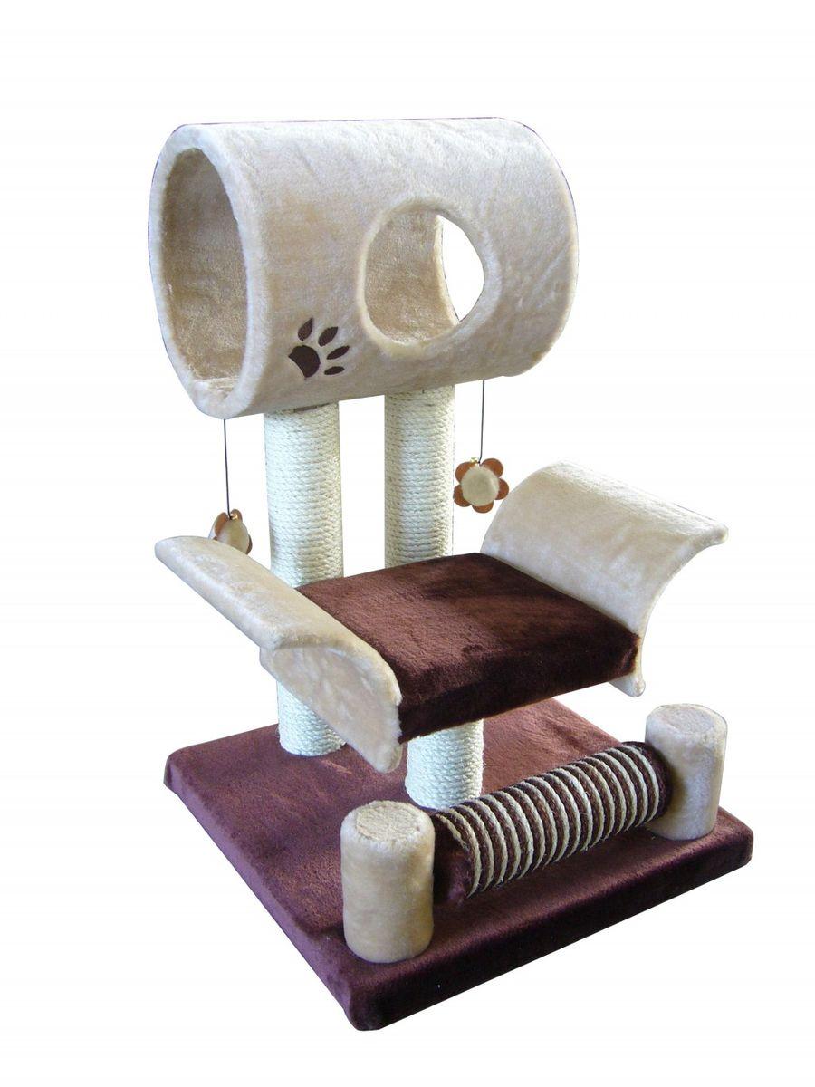 Игровая площадка для кошек Fauna Limbo, цвет: бежевый, коричневый, 45 х 45 х 79 см0120710Игровая площадка для кошек Fauna Limbo обязательно понравится вашей кошке и станет ее излюбленным местом для отдыха и игр. Площадка изготовлена из ДВП и обтянута мягким плюшевым текстилем. Имеет 2 уровня: лежак с загнутыми бортами и домик-трубу с окошком. Для игр предусмотрены подвесные игрушки-цветочки на веревках, а чтобы поточить когти - столбики-когтеточки. Площадка сконструирована так, чтобы кошка могла увлекательно поиграть, комфортно подремать и иметь прекрасный обзор всей комнаты. Игровые площадки Fauna созданы с любовью, вниманием и заботой о ваших кошках. Этим пушистым непоседам нравится играть и прыгать, забираться повыше, точить когти, прятаться в укромных местах и сладко спать в теплых уютных домиках. Компания Fauna International представляет новую серию современных игровых площадок для веселых игр и сладких снов!Диаметр трубы домика: 24 см.