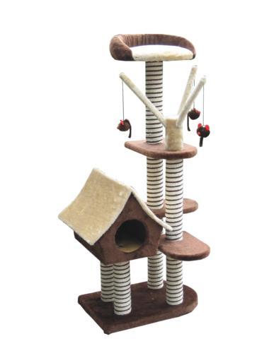 Игровая площадка для кошек Fauna Sagrada, цвет: коричневый, 54 см х 36 см х 128 см0120710Многофункциональная игровая площадка Fauna Sagrada обязательно понравится вашей кошке и станет ее излюбленным местом для отдыха и игр. Площадка изготовлена из ДВП и обтянута мягким плюшевым текстилем, также использовались сизаль, морские водоросли и гипоаллергенное нейлоновое волокно. Имеет несколько уровней: домик-избушку, 4 плоские полки и мягкий лежак. Для игр предусмотрены подвесные игрушки на веревках, а чтобы поточить когти - несколько столбиков-когтеточек. Для привлечения внимания животного в мягкие декоративные элементы игровой площадки добавлены специальные хрустящие вставки, издающие приятный шорох, а также использована пропитка кошачьей мятой.Площадка сконструирована так, чтобы кошка подумала, что перед ней большое дерево, на которое можно вскарабкаться. В домик кошка может забраться, чтобы спрятаться и поспать, лежак - хорошее место, чтобы подремать и понаблюдать за происходящим вокруг, а полки станут прекрасным местом для развлечений. Оригинальный дизайн прекрасно впишется в интерьер вашего дома. Игровые площадки Fauna созданы с любовью, вниманием и заботой о ваших кошках. Этим пушистым непоседам нравится играть и прыгать, забираться повыше, точить когти, прятаться в укромных местах и сладко спать в теплых уютных домиках. Компания Fauna International представляет новую серию современных игровых площадок для веселых игр и сладких снов! Размер домика: 26 см х 37 см х 33 см. Размер полок: 35 см х 30 см; 20 см х 30 см. Диаметр лежака: 32 см.