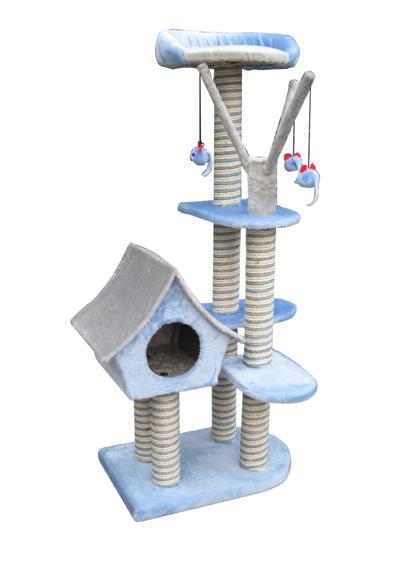Игровая площадка для кошек Fauna Sagrada, цвет: голубой, 54 х 36 х 128 см0120710Многофункциональная игровая площадка Fauna Sagrada обязательно понравится вашей кошке и станет ее излюбленным местом для отдыха и игр. Площадка изготовлена из ДВП и обтянута мягким плюшевым текстилем, также использовались сизаль, морские водоросли и гипоаллергенное нейлоновое волокно. Имеет несколько уровней: домик-избушку, 4 плоские полки и мягкий лежак. Для игр предусмотрены подвесные игрушки на веревках, а чтобы поточить когти - несколько столбиков-когтеточек. Для привлечения внимания животного в мягкие декоративные элементы игровой площадки добавлены специальные хрустящие вставки, издающие приятный шорох, а также использована пропитка кошачьей мятой.Площадка сконструирована так, чтобы кошка подумала, что перед ней большое дерево, на которое можно вскарабкаться. В домик кошка может забраться, чтобы спрятаться и поспать, лежак - хорошее место, чтобы подремать и понаблюдать за происходящим вокруг, а полки станут прекрасным местом для развлечений. Оригинальный дизайн прекрасно впишется в интерьер вашего дома. Игровые площадки Fauna созданы с любовью, вниманием и заботой о ваших кошках. Этим пушистым непоседам нравится играть и прыгать, забираться повыше, точить когти, прятаться в укромных местах и сладко спать в теплых уютных домиках. Компания Fauna International представляет новую серию современных игровых площадок для веселых игр и сладких снов! Размер домика: 26 см х 37 см х 33 см. Размер полок: 35 см х 30 см; 20 см х 30 см. Диаметр лежака: 32 см.