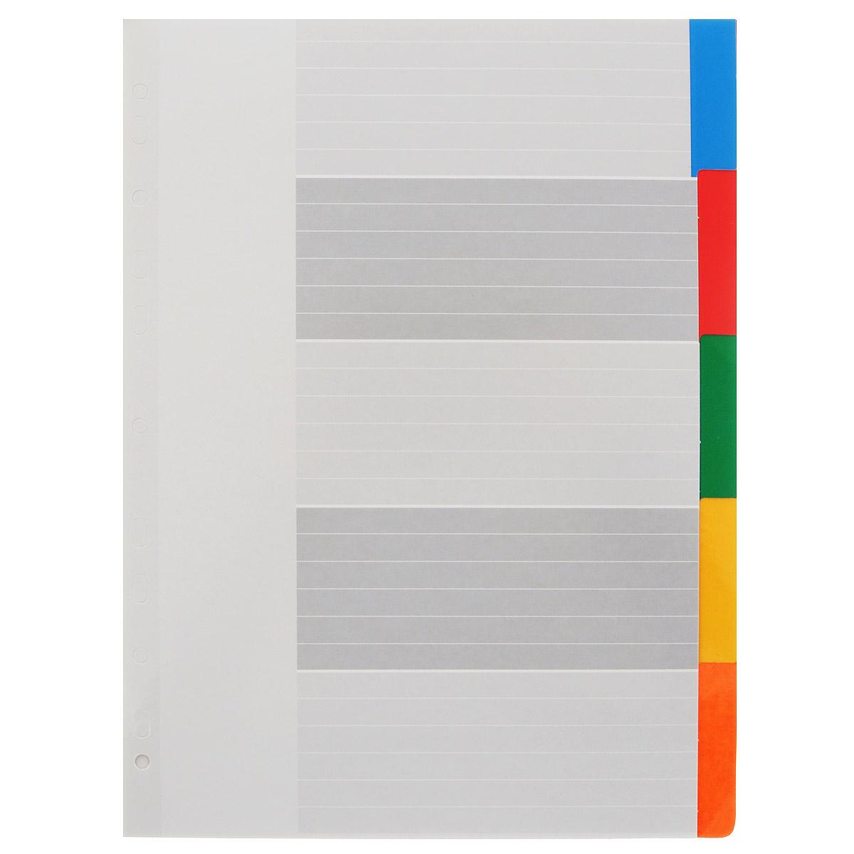 """Разделители из набора Berlingo """"Цветовой"""" предназначены для хранения и классификации документов формата А4 в папках или тетрадях на кольцах. Изготовлены из картона со вставками 5 ярких классических цветов: синего, красного, зеленого, желтого и оранжевого. Имеют боковую мультиперфорацию. В наборе 5 разделителей."""