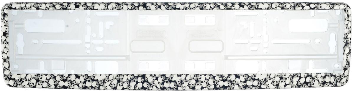 Рамка под номер Черепа. З000001409910000000162Рамка Черепа не только закрепит регистрационный знак на вашем автомобиле, но и красиво его оформит. Основание рамки выполнено из полипропилена, материал лицевой панели - пластик.Она предназначена для крепления регистрационного знака российского и европейского образца, декорирована изображением черепов. Устанавливается на все типы автомобилей. Крепления в комплект не входят.Стильный дизайн идеально впишется в экстерьер вашего автомобиля.Размер рамки: 53,5 см х 13,5 см. Размер регистрационного знака: 52,5 см х 11,5 см.