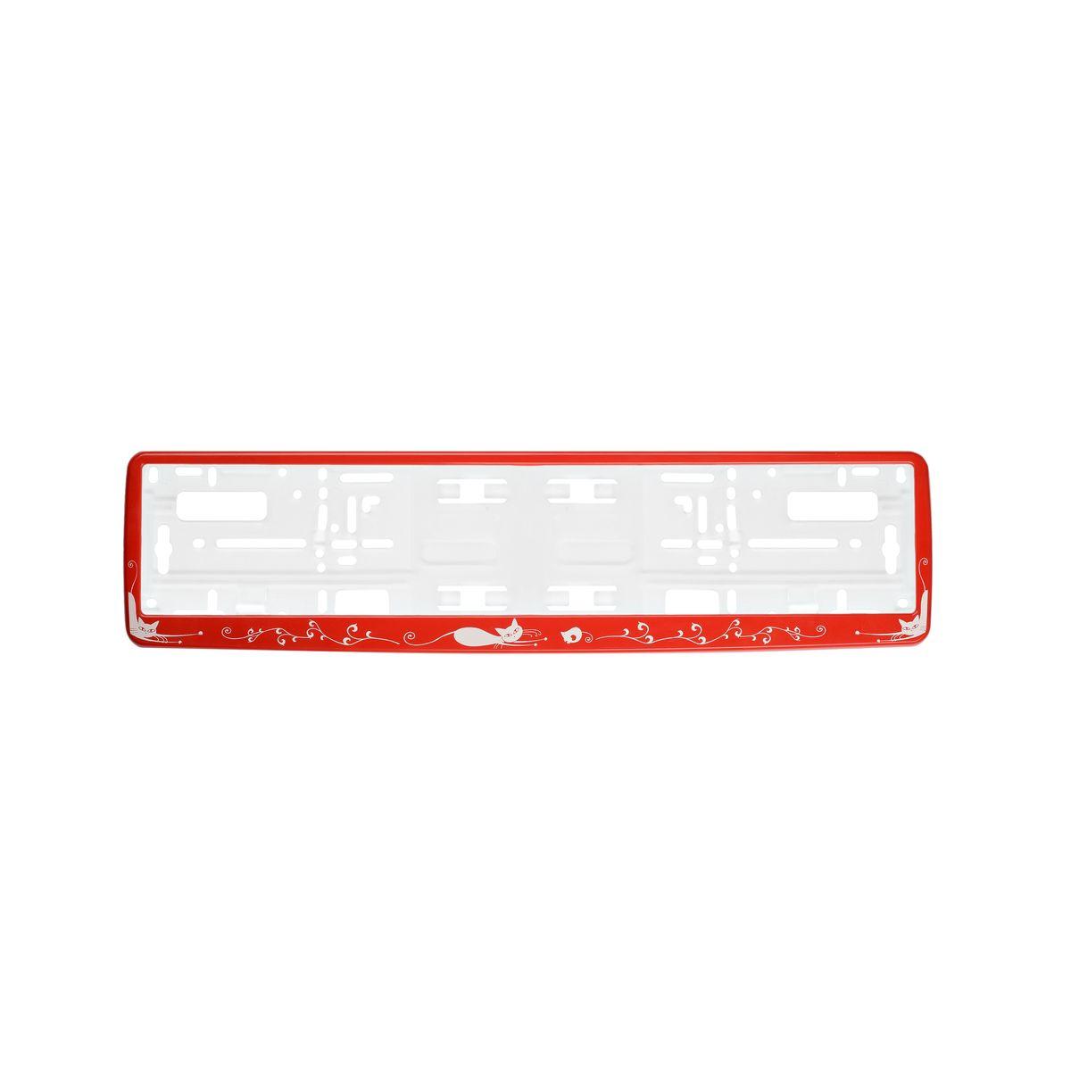 Рамка под номер Кошки, цвет: красныйRC-100BWCРамка Кошки не только закрепит регистрационный знак на вашем автомобиле, но и красиво его оформит. Основание рамки выполнено из полипропилена, материал лицевой панели - пластик.Она предназначена для крепления регистрационного знака российского и европейского образца, декорирована изображением кошек. Устанавливается на все типы автомобилей. Крепления в комплект не входят.Стильный дизайн идеально впишется в экстерьер вашего автомобиля.Размер рамки: 53,5 см х 13,5 см. Размер регистрационного знака: 52,5 см х 11,5 см.