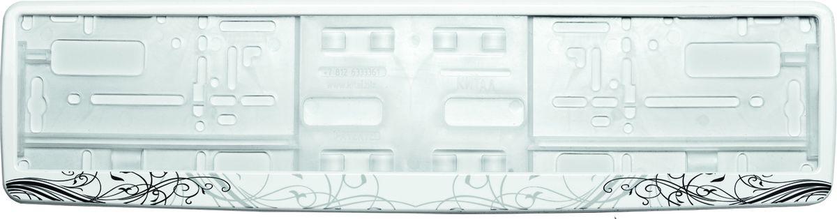 Рамка под номер АР-Деко. З0000012353RC-100BWCРамка АР-Деко не только закрепит регистрационный знак на вашем автомобиле, но и красиво его оформит. Основание рамки выполнено из полипропилена, материал лицевой панели - пластик.Она предназначена для крепления регистрационного знака российского и европейского образца, декорирована орнаментом. Устанавливается на все типы автомобилей. Крепления в комплект не входят.Стильный дизайн идеально впишется в экстерьер вашего автомобиля.Размер рамки: 53,5 см х 13,5 см. Размер регистрационного знака: 52,5 см х 11,5 см.