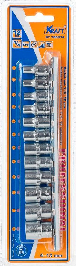 Набор торцевых головок Kraft Professional, 1/4, 4 мм - 13 мм, 12 шт98298130В набор Kraft Professional входят шестигранные торцевые головки на планке под квадрат 1/4 следующих размеров: 4 мм, 4,5 мм, 5 мм, 5,5 мм, 6 мм, 7 мм, 8 мм, 9 мм, 10 мм, 11 мм, 12 мм, 13 мм. Головки выполнены из хромованадиевой стали со специальным трехслойным покрытием.Торцевые головки Kraft Professional изготовлены из хромованадиевой стали марки 50BV30 со специальным трехслойным покрытием, обеспечивающим долговременную защиту от механических повреждений.