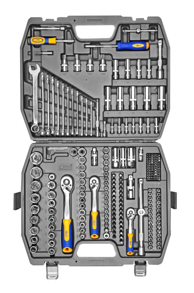 Набор инструментов Kraft Professional, универсальный, 1/2, 1/4, 3/8, 218 предметов1-70-749Специальный набор инструментов Kraft Professional многофункциональной комплектации, позволяет производить слесарно-монтажные работы с различными типами крепежа, с внешним и внутренним рабочим профилем в широком диапазоне размеров. Набор предназначен для оснащения рабочего места механика. Это полнофункциональный набор торцевых головок с 6-ти и 12-тигранными рабочими профилями и принадлежностей к ним для работы с приводом 1/2, 1/4 и 3/8. Состав набора: головки торцевые шестигранные 1/4: 4 мм, 4,5 мм, 5 мм, 5,5 мм, 6 мм, 7 мм, 8 мм, 9 мм, 10 мм, 11 мм, 12 мм, 13 мм;головки торцевые шестигранные глубокие 1/4: 4 мм, 5 мм, 6 мм, 7 мм, 8 мм, 9 мм, 10 мм; головки торцевые 1/4 E - профиль: E4, E5, E6, E7; удлинители 1/4: 50 мм, 100 мм;удлинитель гибкий 1/4: 125 мм; кардан шарнирный 1/4;рукоятка трещоточная с быстрым сбросом 1/4: 145 мм, 72 зубца; вороток Т-образный 1/4: 115 мм; рукоятка - удлинитель 1/4; держатель вставок 1/4 - 5/16 с магнитом; отверточная рукоятка 1/4 с магнитом; рукоятка-удлинитель 1/4; переходник для бит 1/4 - 5/16; переходник 1/4: шестигранник (под электроинструмент); Биты-вставки 25 мм под держатель 1/4: H3, H4, H5, H6, HH3, HH4, HH5, HH6, PH1, PH2, Pz1, Pz2, T8, T10, T15, T20, T25, TT8, TT10, TT10, TT15, TT15, TT20, TT20, TT25, TT25, TT40, M5, M6, M8, SL4, SL5, SL5,5, TRI-WING 1, TRI-WING 2, TRI-WING 3, TORX 6, TORX 8, TORX 10, S1, S2, SL4, SL6, SL8;ключи комбинированные: 8 мм, 9 мм, 10 мм, 11 мм, 12 мм, 13 мм, 14 мм, 15 мм, 16 мм, 17 мм, 18 мм, 19 мм; ключи торцевые шестигранные: 1,27 мм, 1,27 мм, 1,5 мм, 1,5 мм, 2 мм, 2 мм, 2,5 мм, 3 мм, 4 мм, 5 мм; головки торцевые шестигранные 1/2: 10 мм, 11 мм, 12 мм, 13 мм, 14 мм, 15 мм, 17 мм, 19 мм, 20 мм, 22 мм, 24 мм, 27 мм, 30 мм, 32 мм;головки торцевые шестигранные глубокие 1/2: 16 мм, 17 мм, 18 мм, 19 мм, 21 мм; головки торцевые 1/2 E - профиль: E4, E5, E6, E7; головки торцевые глубокие свечные 1/2: 16 мм, 21 мм; удли