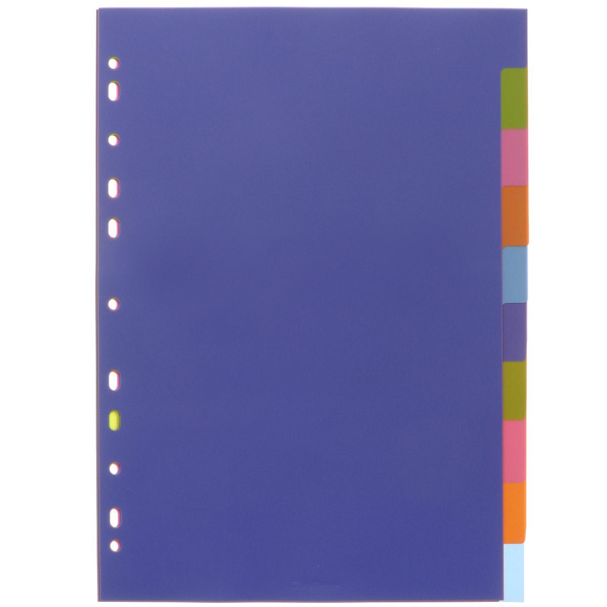 Набор разделителей листов Berlingo станет незаменимой канцелярской принадлежностью в вашей работе. Разделители листов выполнены из высококачественного разноцветного пластика: фиолетового, салатового, розового, оранжевого и голубого цветов. Они предназначены для учета, классификации и удобной систематизации документов формата А4 в архивных папках, папках-регистраторах, скоросшивателях. В набор входят 10 разделителей с вырубкой и титульный лист, выполненный из плотной бумаги. Универсальная боковая перфорация, состоящая из 11 отверстий, позволяет использовать разделители в папках с различными механизмами подшивания.