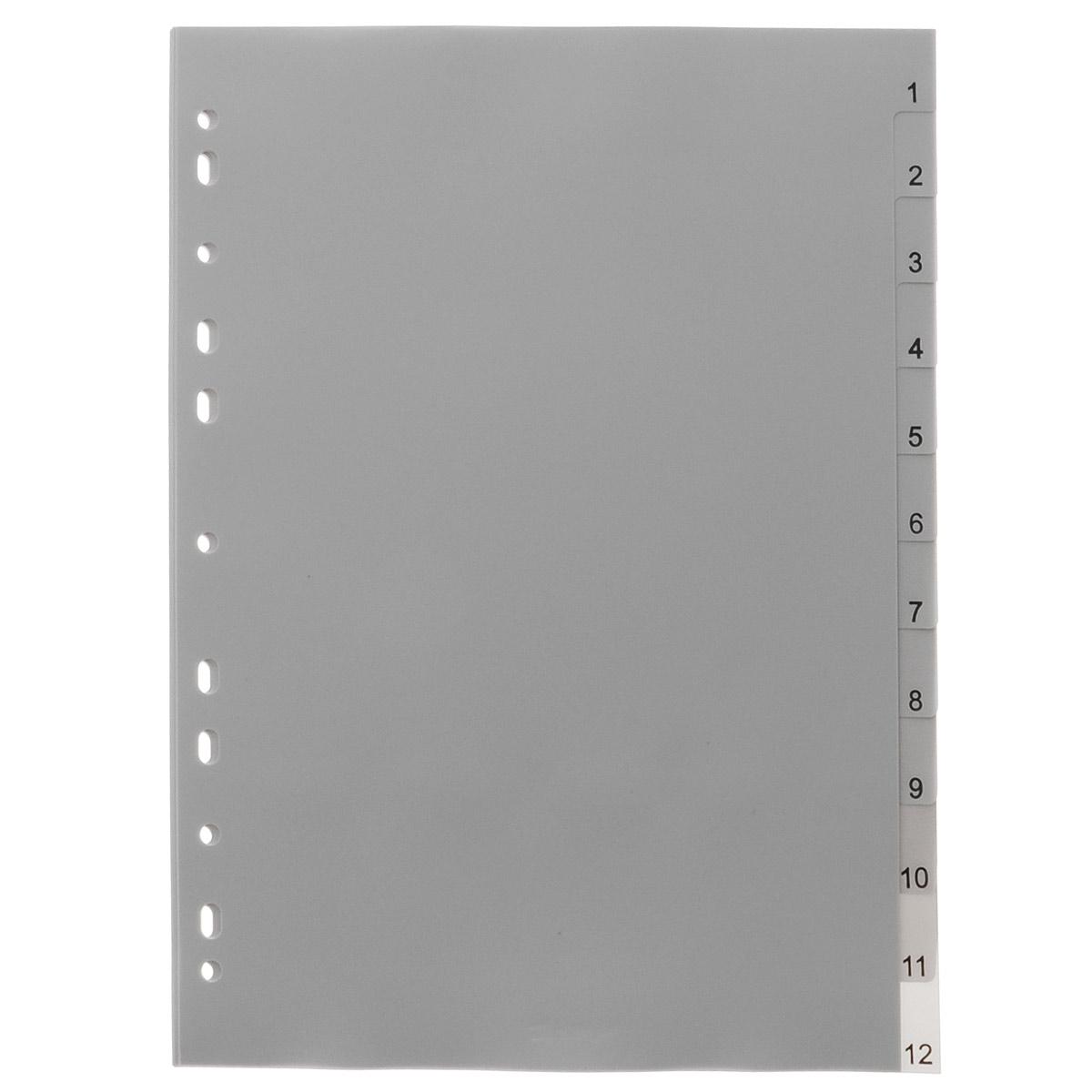 Набор разделителей листов Berlingo станет незаменимой канцелярской принадлежностью в вашей работе. Разделители листов выполнены из высококачественного пластика серого цвета. Они предназначены для учета, классификации и удобной систематизации документов формата А4 в архивных папках, папках-регистраторах, скоросшивателях. В набор входят 12 разделителей с цифровой вырубкой (от 1 до 12) и титульный лист, выполненный из плотной бумаги. Универсальная боковая перфорация, состоящая из 11 отверстий, позволяет использовать разделители в папках с различными механизмами подшивания.