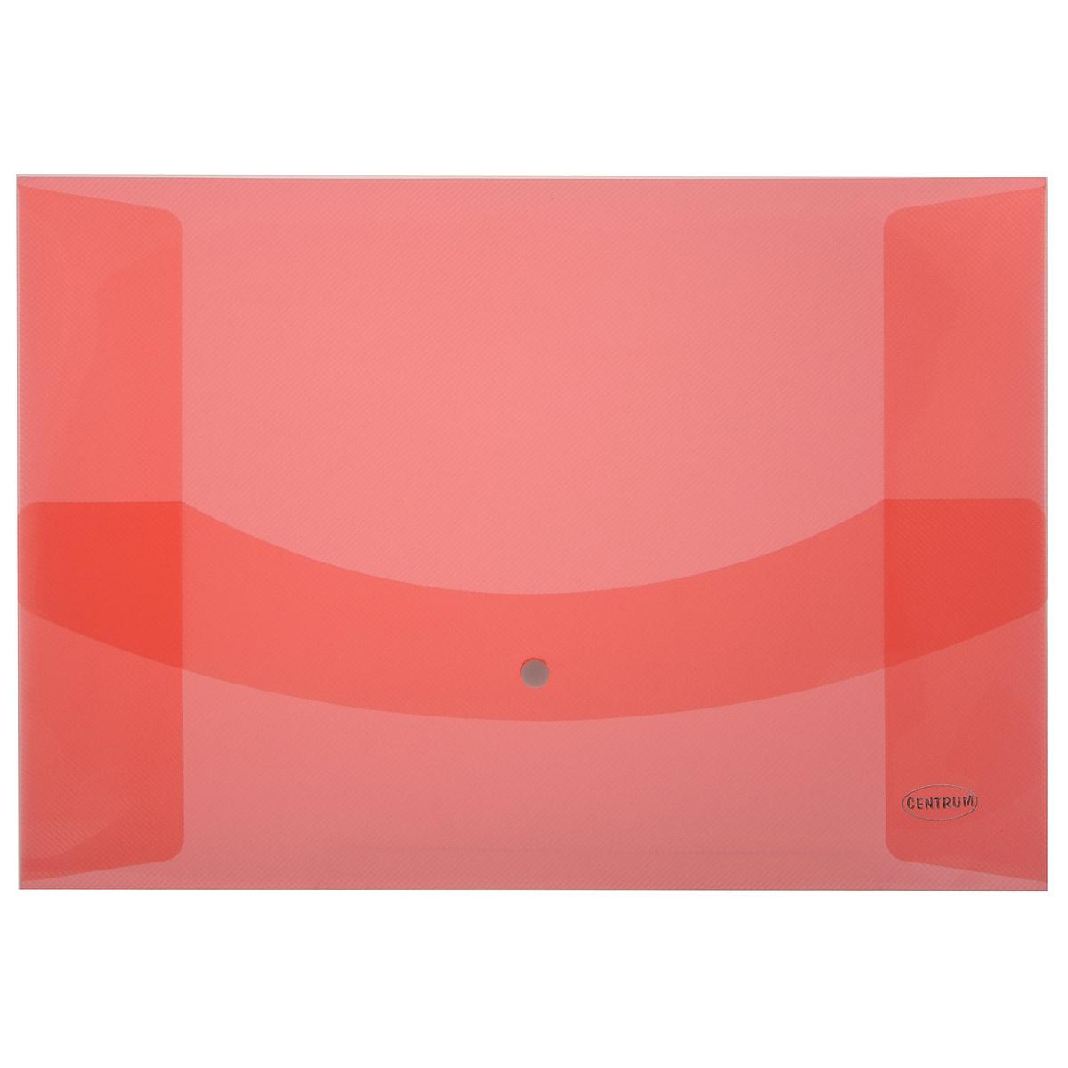 Папка-конверт на кнопке Centrum, цвет: красный. Формат А380626Папка-конверт на кнопке Centrum - это удобный и функциональный офисный инструмент, предназначенный для хранения и транспортировки рабочих бумаг и документов формата А3.Папка изготовлена из износостойкого полупрозрачного полипропилена и оформлена тиснением в виде параллельной штриховки. Закрывается клапаном на кнопке. На боковых сторонах папки расположены специальные проемы, облегчающие изъятие документов.Папка-конверт - это незаменимый атрибут для студента, школьника, офисного работника. Такая папка надежно сохранит ваши документы и сбережет их от повреждений, пыли и влаги.