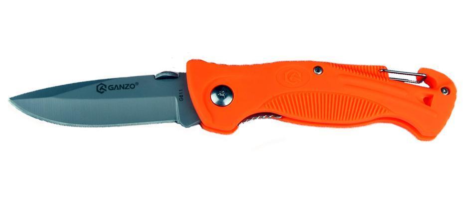 Нож складной туристический Ganzo G611 оранжевый860011NНа рукоятке ножа – специальный спасательный свисток для подачи сигнала бедствия. Это обеспечивает дополнительную безопасность в критических ситуациях, например, в лесу или в горахСама рукоятка изготовлена из высококачественного пластика и оснащена специальным карабином, благодаря которому нож можно закрепить на поясе или пристегнуть к рюкзаку.Сталь 440
