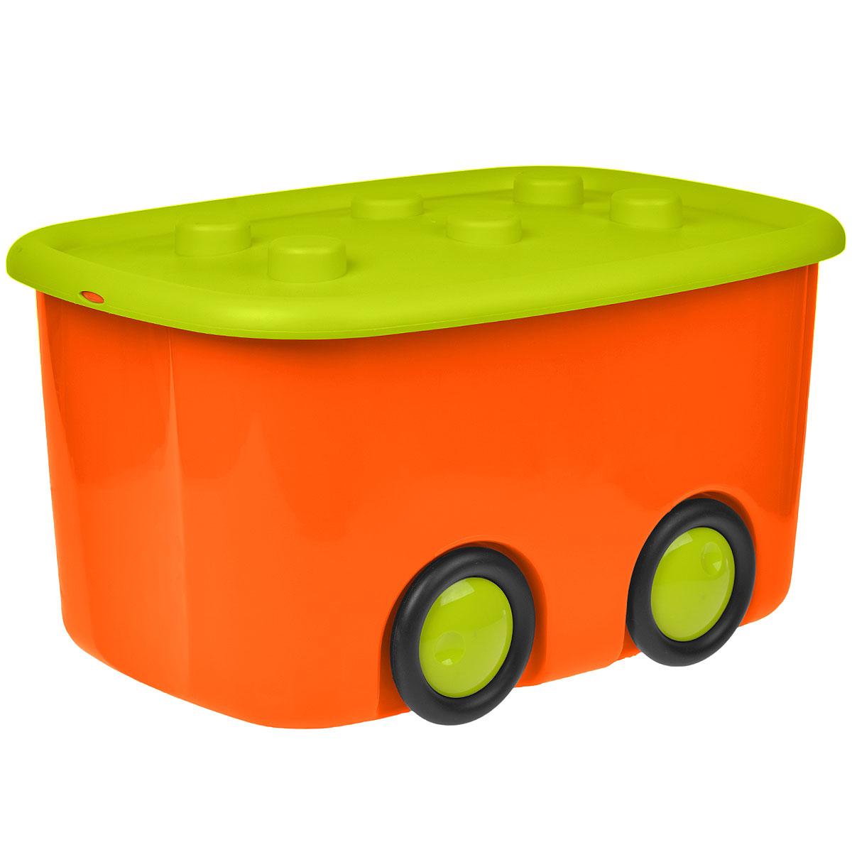 Ящик для игрушек Моби, цвет: оранжевый, салатовый, 51 см х 41 см х 32 см1004900000360Ящик для игрушек Моби изготовлен из яркого полипропилена. В нем можно удобно и компактно хранить белье, одежду, обувь или игрушки. Ящик оснащен плотно закрывающей крышкой, которая защищает вещи от пыли, грязи и влаги. Крышка дополнена шестью выступами. Ящик оснащен четырьмя колесами.Оригинальный ящик на колесах станет незаменимым для хранения игрушек, книжек и других детских принадлежностей. Он отлично впишется в детскую комнату и поможет приучить ребенка к порядку.