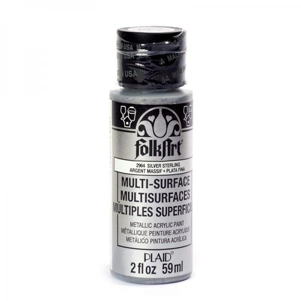 Краска акриловая FolkArt Multi-Surface Metallic, цвет: серебро (2964), 59 млFS-00103Краска акриловая FolkArt Multi-Surface Metallic - это прочная погодоустойчивая сатиновая краска с металлическим отливом. Не токсична, на водной основе. Предназначена для различных видов поверхностей: стекло, керамика, дерево, металл, пластик, ткань, холст, бумага, глина. Идеально подходит как для использования в помещении, так и для наружного применения. Изделия, покрытые такой краской, можно мыть в посудомоечной машине в верхнем отсеке. Перед применением краску необходимо хорошо встряхнуть. Краски разных цветов можно смешивать между собой. Перед повторным нанесением краски дать высохнуть в течении 1 часа. До высыхания может быть смыта водой с мылом.