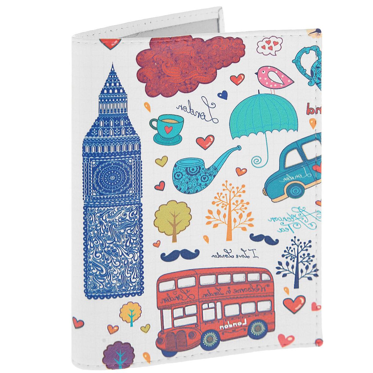 Обложка для паспорта Утренний Лондон. OK2250140 505.06/04Обложка для паспорта Mitya Veselkov Утренний Лондон выполнена из натуральной кожи и оформлена изображением Биг-Бена и другими яркими рисунками. Такая обложка не только поможет сохранить внешний вид ваших документов и защитит их от повреждений, но и станет стильным аксессуаром, идеально подходящим вашему образу.Яркая и оригинальная обложка подчеркнет вашу индивидуальность и изысканный вкус. Обложка для паспорта стильного дизайна может быть достойным и оригинальным подарком.