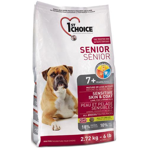 Корм сухой 1st Choice Senior для пожилых или малоактивных собак с чувствительной кожей и шерстью, с ягненком, рыбой и рисом, 2,72 кг132.С353Сухой корм 1st Choice Senior - полноценный сбалансированный корм для собак(от 7 лет и старше). Он идеален для пожилого животного. Корм на основеягнёнка и рыбы будет очень полезен собакам с чувствительной кожей, так каксодержит белки, известные своими гипоаллергенными свойствами.Ингредиенты: мука из мяса ягненка 11%, мука из сельди 10%, коричневый рис 10%,рисовые отруби, сушеный картофель, дробленый рис, мякоть свеклы,коричневый рис, ячменная крупа, овсяная крупа, гидролизат куриной печени,цельное семя льна, жир лосося, сушеная мякоть томата, экстракт цикория, соль,экстракт дрожжей (источник маннан-олигосахаридов), экстракт цикория(источник инулина), экстракт юкки, сушеная мята, сушеная петрушка, экстрактзеленого чая, панцирь мелких креветок и панцирь краба. Анализ: протеин 18%, жир 10%, сырая клетчатка 4%, зола 9%, кальций 1,5%,фосфор 1,2%, глюкозамина сульфат 500 мг/кг, хондроитина сульфат 250 мг/кг.Добавки на кг: E672 (витамин А) 23000 ME, E671 (витамин D3) 2000 ME, витамин Е140 МЕ, Е300 аскорбиновая кислота (витамин С) 170 мг, E1 (железо) 180 мг, Е2(йод) 4 мг, Е3 (кобальт) 2 мг, Е4 (медь) 7 мг, E5 (марганец) 25 мг, E6 (цинк) 220 мг,Е8 (селен) 0,2 мг. Товар сертифицирован.