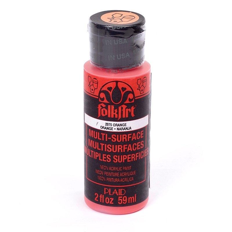 Краска акриловая FolkArt Multi-Surface Neon, цвет: оранжевый неон (2975), 59 млFS-00261Краска акриловая FolkArt Multi-Surface Neon - это прочная погодоустойчивая сатиновая краска яркого неонового цвета. Не токсична, на водной основе. Предназначена для различных видов поверхностей: стекло, керамика, дерево, металл, пластик, ткань, холст, бумага, глина. Идеально подходит как для использования в помещении, так и для наружного применения. Изделия, покрытые такой краской, можно мыть в посудомоечной машине в верхнем отсеке. Перед применением краску необходимо хорошо встряхнуть. Краски разных цветов можно смешивать между собой. Перед повторным нанесением краски дать высохнуть в течении 1 часа. До высыхания может быть смыта водой с мылом.