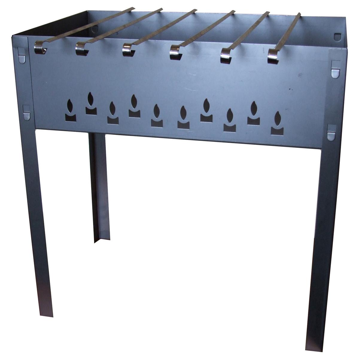 Мангал сборный Грилькофф Стандарт, 6 шампуров, 50 см х 50 см х 30 смХот ШейперсСборный переносной мангал Грилькофф Стандарт изготовлен из нержавеющей стали. Предназначен для приготовления мяса, птицы, рыбы, овощей на открытом воздухе. Мангал хорошо поддерживает жар, не требуя большого количества топлива. Простота и легкость конструкции мангала обеспечивают его быструю сборку и длительную эксплуатацию. В разобранном виде мангал очень компактен, благодаря чему он не занимает много места, например, в багажнике автомобиля. В комплекте с мангалом 6 шампуров. Размер мангала: 50 см х 50 см х 30 см.