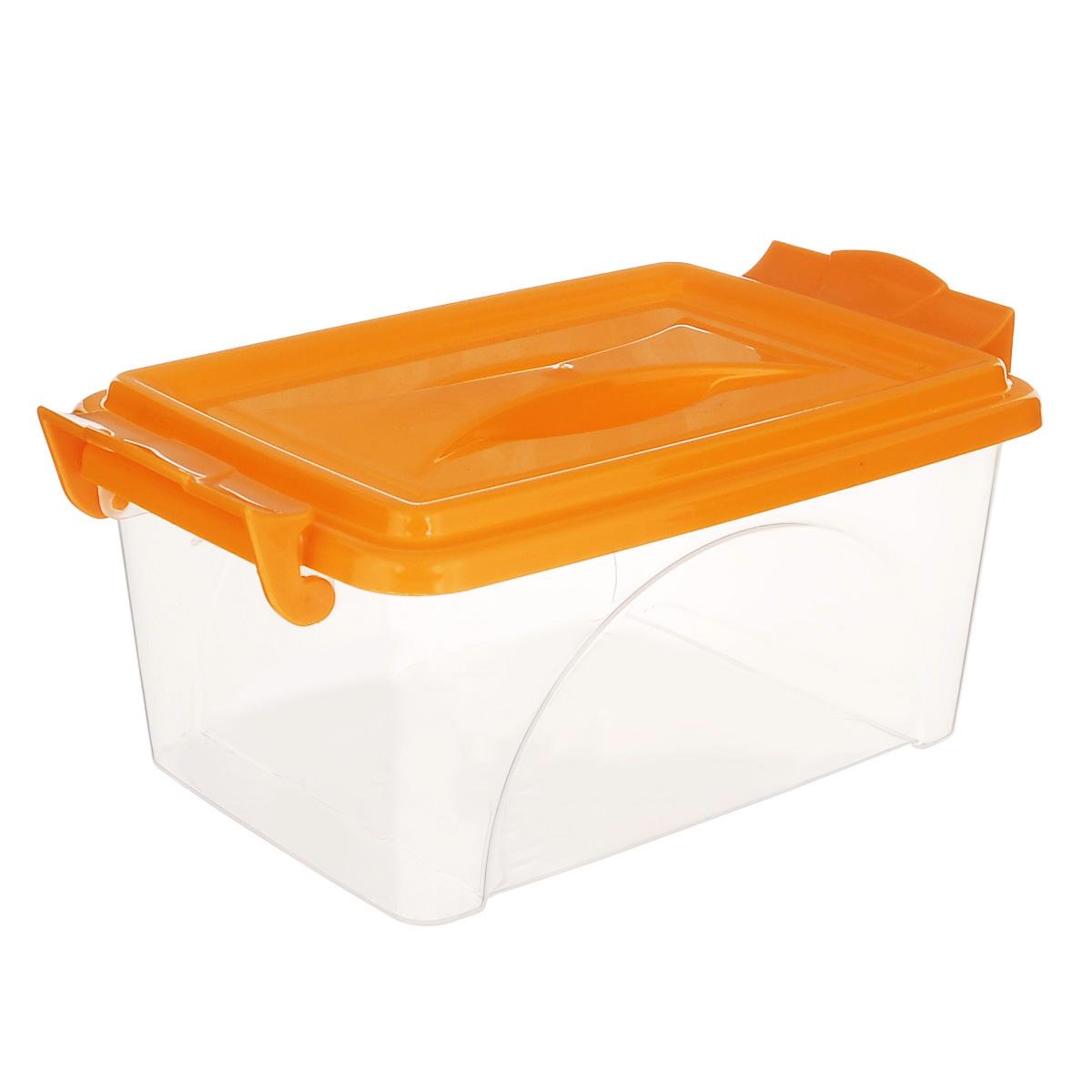 Контейнер Альтернатива, цвет: оранжевый, 26,5 см х 16,5 см х 12 см6901СКонтейнер Альтернатива выполнен из прочного пластика. Он предназначен для хранения различных бытовых вещей и продуктов.Контейнер оснащен по бокам ручками, которые плотно закрывают крышку контейнера. Также на крышке имеется ручка для удобной переноски. Контейнер поможет хранить все в одном месте, он защитит вещи от пыли, грязи и влаги.