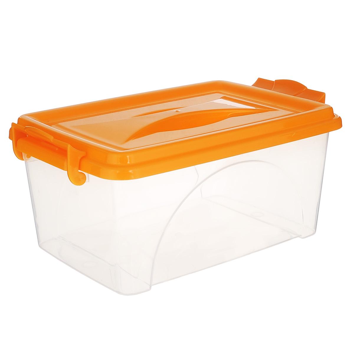Контейнер Альтернатива, цвет: оранжевый, 30,5 х 20 х 13,5 смМ 2857Контейнер Альтернатива выполнен из прочного пластика. Он предназначен для хранения различных бытовых вещей и продуктов.Контейнер оснащен по бокам ручками, которые плотно закрывают крышку контейнера. Также на крышке имеется ручка для удобной переноски. Контейнер поможет хранить все в одном месте, он защитит вещи от пыли, грязи и влаги.