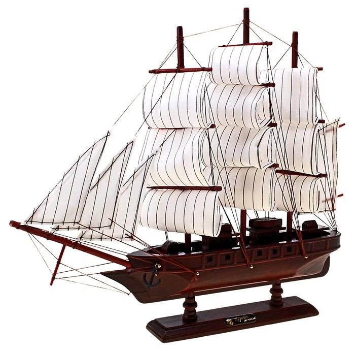 Корабль сувенирный Корабль мечты, длина 40 см. 564195THN132NСувенирный корабль Корабль мечты, изготовленный из дерева и текстиля, это великолепный элемент декора рабочей зоны в офисе или кабинете. Корабль с парусами и якорями помещен на деревянную подставку. Время идет, и мы становимся свидетелями развития технического прогресса, новых учений и практик. Но одно не подвластно времени - это любовь человека к морю и кораблям. Сувенирный корабль наполнен историей и силой океанских вод. Данная модель кораблика станет отличным подарком для всех любителей морей, поклонников историй о покорении океанов и неизведанных земель. Модель корабля - подарок со смыслом. Издавна на Руси считалось, что корабли приносят удачу и везение. Поэтому их изображения, фигурки и точные копии всегда присутствовали в помещениях. Удивите себя и своих близких необычным презентом.