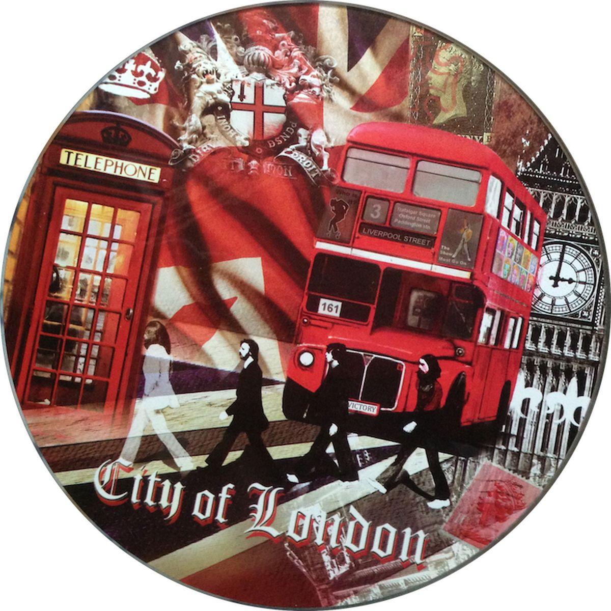 Доска разделочная GiftnHome Лондонские фантазии, стеклянная, диаметр 19 см115510Разделочная доска GiftnHome Лондонские фантазии выполнена из жароустойчивого стекла. Изделие, украшенное красочным изображением достопримечательностей Лондона, идеально впишетсяв интерьер современной кухни. Специальное покрытие вкладыша обеспечивает стойкость к влаге и высоким температурам. Изделие легко чистить от пятен и жира. Также доску можно применять как подставку под горячее.Разделочная доска GiftnHome Лондонские фантазии украсит ваш стол и сбережет его от воздействия высоких температур ваших кулинарных шедевров. Можно мыть в посудомоечной машине.Диаметр доски: 19 см. Толщина доски: 0,4 см.