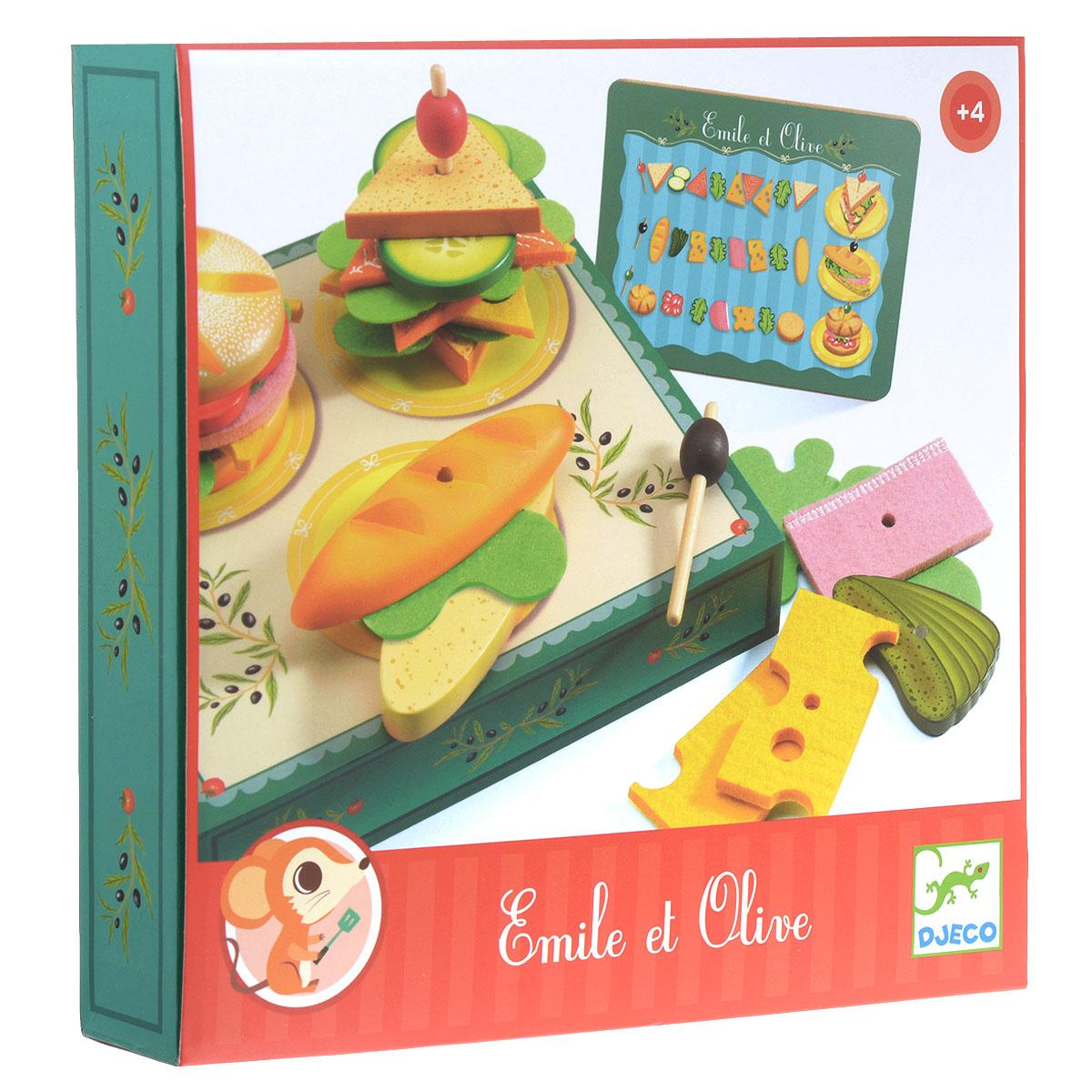 """Игровой набор Djeco """"Сэндвичи от Эмиля и Олив"""" - замечательный набор для сюжетно-ролевой игры. В нем ваш ребенок найдет все самое необходимое для того, чтобы приготовить и накормить свои любимые игрушки вкусными бутербродами. Рецепт прост - два кусочка булки, сыр, салат и то, что нравится каждому в особенности. Набор включает коробочку с изображением поваров за рабочим столом на одной стороне и рабочей поверхностью для приготовления бутербродов на другой, 3 двойных основы для бутербродов в виде булочек, 3 двусторонних деревянных элемента и текстильные элементы в виде различных начинок, 3 шпажки для канапе и карточку с примерами сочетания основ с начинками. Элементы набора выполнены из высококачественного дерева. Ваш ребенок будет в восторге от такого подарка!"""