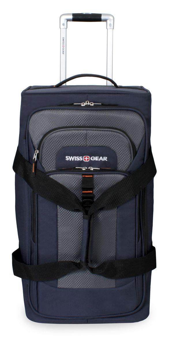 Сумка на колесах SwissGear, цвет: синий, серый, 55 л6166344267Стильная сумка на колесах Swissgear подойдет для современных и мобильных людей. Она выполнена из полиэстера и имеет одно вместительное основное отделение на застежке-молнии, внутри фиксирующие ремни, а также сетчатый карман. На лицевой стороне расположено 2 кармана на застежке-молнии.Особенности:Алюминиевая ручка с фиксатором позволяет легко и удобно перемещать багаж.Прочные ручки, расположенные на боковой и верхних частях изделия, позволяют без усилий поднимать и перевозить чемодан.Встроенные легко вращающиеся колеса обеспечивают максимальную стабильность и маневренность багажа.По всем вопросам гарантийного и постгарантийного обслуживания рюкзаков, чемоданов, спортивных и кожаных сумок, а также портмоне марок Wenger и SwissGear вы можете обратиться в сервис-центр, расположенный по адресу: г. Москва, Саввинская набережная, д.3. Тел: (495) 788-39-96, (499) 248-56-56, ежедневно с 9:00 до 21:00. Подробные условия гарантийного обслуживания приведены в гарантийном талоне, поставляемым в комплекте с каждым изделием. Бесплатный ремонт изделий производится при условии предоставления гарантийного талона и товарного/кассового чека, подтверждающего дату покупки.
