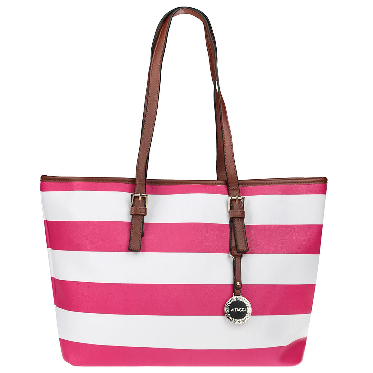 Сумка женская Vitacci, цвет: розовый, белый. NN014ML597BUL/DСтильная женская сумка Vitacci выполнена из экокожи в полоску. Сумка имеет одно вместительное отделение, закрывающееся на застежку-молнию. Внутри - втачной карман на застежке-молнии и два накладных карманчика для мелочей и телефона. Модель оснащена двумя ручками, позволяющими носить сумку на плече. Они прочно крепятся к корпусу сумки, при желании можно регулировать высоту ручек. На одной ручке подвеска с логотипом фирмы. Сумка - это стильный аксессуар, который подчеркнет вашу изысканность и индивидуальность и сделает ваш образ завершенным.