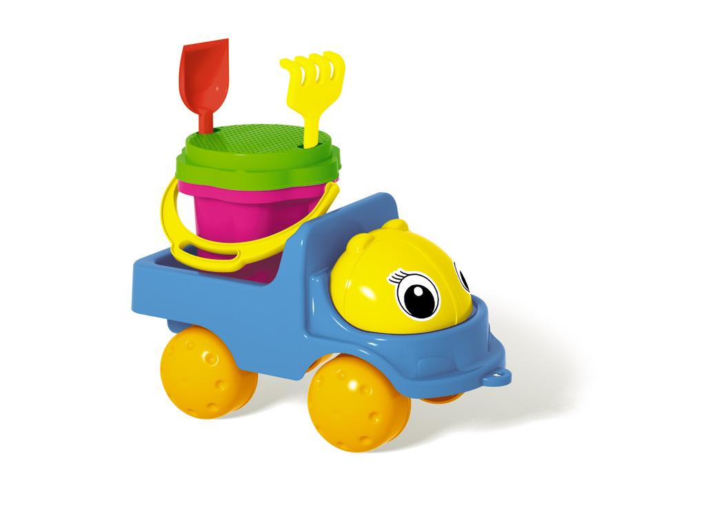 """Грузовик Stellar """"Кузнечик-2"""" с песочным набором сделает игры в песке еще более увлекательными и захватывающими. Набор включает в себя 5 предметов: грузовик, ведерко с крышкой-ситом, лопатку и грабельки. Все элементы набора изготовлены из высококачественного безопасного пластика и имеют яркие цвета. Машинка выполнена в виде грузовика с просторным кузовом, в котором можно перевозить важнейший элемент стройки - песок. Колесики машинки вращаются. Ведерко без труда помещается в кузову машинки. Игры в песке способствуют развитию мелкой моторики ребенка, координации движений, тактильного и цветового восприятия, а также воображения и творческого мышления. А с грузовиком Stellar """"Кузнечик-2"""" играть станет еще веселее, ведь он откроет вашему малышу новые просторы для творчества!"""