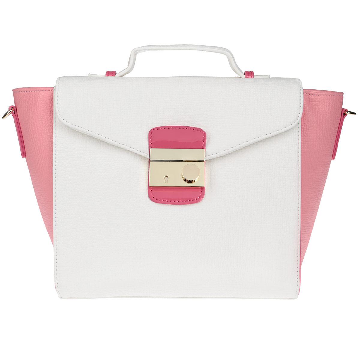 Сумка женская Vitacci, цвет: розовый, белый. V0779S76245Изысканная женская сумка Vitacci изготовлена из эко кожи. Изделие закрывается на удобную застежку-молнию и дополнительно клапаном на застежку. Внутри - одно вместительное отделение, несколько накладных карманчиков для мелочей, телефона, накладной карманчик на застежке-молнии и врезной карманчик на застежке-молнии. Задняя сторона сумки дополнена плоским карманом, закрывающимся сверху небольшим хлястиком на магнитную кнопку. Дно дополнено металлическими ножками, защищающими изделие от повреждений.На клапане - небольшая ручка для удобного ношения сумки в руках. Также модель дополнена съемным плечевым ремнем, регулирующимся по длине. Изделие упаковано в фирменный чехол.Роскошная сумка внесет элегантные нотки в ваш образ и подчеркнет ваше отменное чувство стиля.