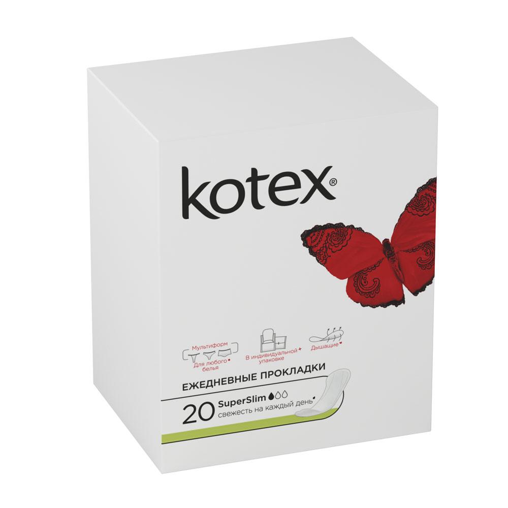 Kotex Ежедневные прокладки SuperSlim, 20 штMP59.4DЕжедневные прокладки помогают чувствовать себя увереннее, особенно в условиях нынешнего активного ритма жизни. Супертонкие, эластичные и дышащие ежедневные прокладки Kotex SuperSlim, помогут оставаться уверенной в себе каждую минуту. Kotex SuperSlim подходят как для обычного белья, так и для трусиков стрингов. Основные особенности прокладок:Тиснение по краям препятствует расслаиванию прокладки, фиксирует ее форму и края; Мягкий, как хлопок, верхний слой эффективно впитывает жидкость, благодаря чему, прокладка придает ощущение свежести и комфорта; Абсорбирующий слой пропускает воздух, располагается по всей длине прокладки, что обеспечивает надежное сохранение ее формы. Характеристики:Количество прокладок: 20 шт. Толщина прокладки: 1 мм. Размер упаковки: 6,5 см х 8,5 см х 7,5 см. Артикул: 551800. Производитель: Китай. Товар сертифицирован.
