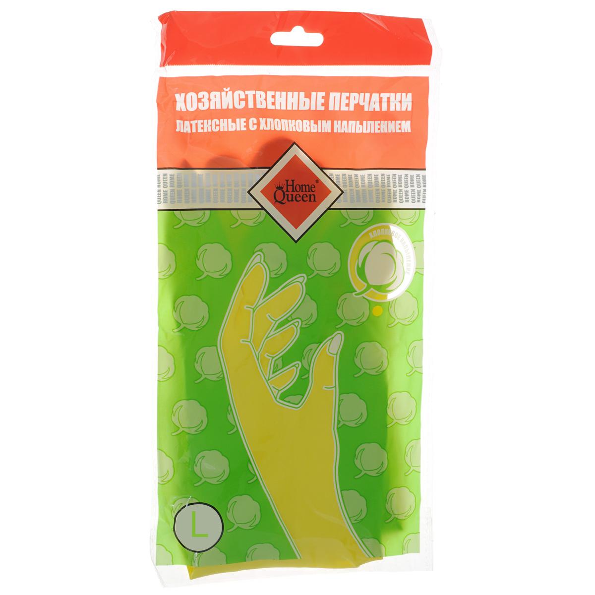 Перчатки латексные Home Queen, с хлопковым напылением. Размер L6.295-875.0Перчатки Home Queen защитят ваши руки от воздействия бытовой химии и грязи. Подойдут для всех видов хозяйственных работ. Выполнены из латекса с хлопковым напылением.