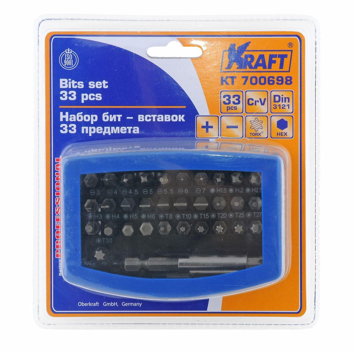 """Набор бит-вставок Kraft Professional, 33 предмета80625В набор Kraft Professional входят бит-вставки: Torx: T8, T10, T15, T20, T25, T27, T30, T40;Hex: 1,5, H2, H2,5, H3, H4, H5, H6;шлицевые: Sl3, Sl4, Sl4,5, Sl5, Sl5,5, Sl6, Sl7;крестовые: Ph0, Ph1, Ph2, Ph3, Ph4, Pz0, Pz1, Pz2, Pz3, Pz4;держатель бит 5/16"""".Элементы набора Kraft Professional изготовлены из хромованадиевой стали марки 50BV30 со специальным трехслойным покрытием, обеспечивающим долговременную защиту от механических повреждений."""