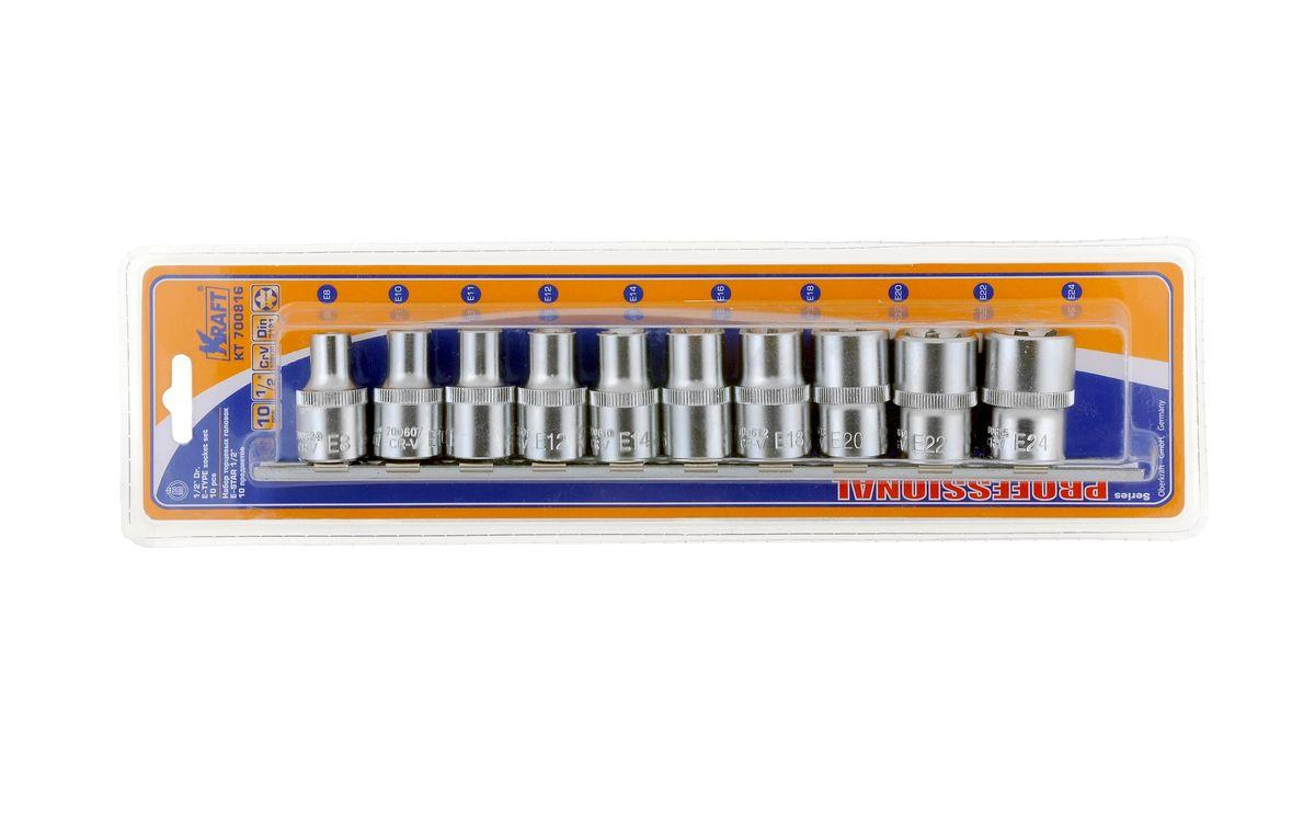 Набор торцевых головок Kraft Professional E-star, 1/2, Е8 - Е24, 10 штPsr 1440 li-2В набор Kraft Professional E-star входят шестигранные торцевые головки на планке под квадрат 1/2 следующих размеров: Е8, Е10, Е11, Е12, Е14, Е16, Е18, Е20, Е22, Е24. Головки выполнены из хромованадиевой стали.Торцевые головки Kraft Professional E-star имеющие внутренний рабочий профиль звездочка, изготовлены из хромованадиевой стали марки 50BV30 со специальным трехслойным покрытием, обеспечивающим долговременную защиту от механических повреждений.