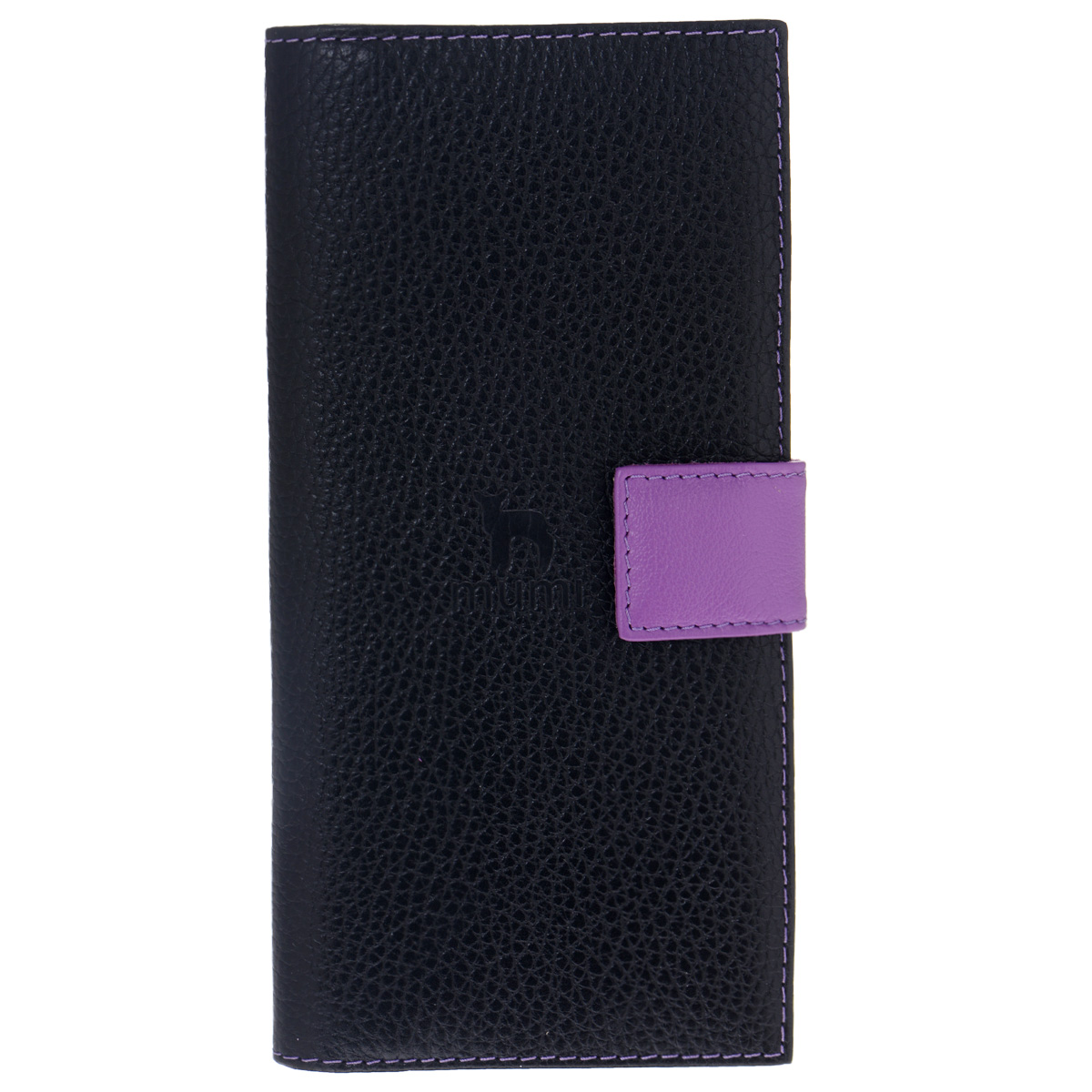 Портмоне Dimanche Mumi, цвет: черный, фиолетовый. 053AQYHA03387-KRP0Модное портмоне Dimanche Mumi изготовлено из высококачественной натуральной кожи и декорировано фактурным тиснением. Изделие закрывается хлястиком на кнопку. Внутри - два отделения для купюр, отсек для мелочи на застежке-молнии, три горизонтальных кармана для бумаг и чеков, одиннадцать прорезей для визиток и кредитных карт и две прорези для SIM-карт.Портмоне упаковано в стильный пластиковый чехол.Изысканное портмоне займет достойное место среди вашей коллекции аксессуаров.
