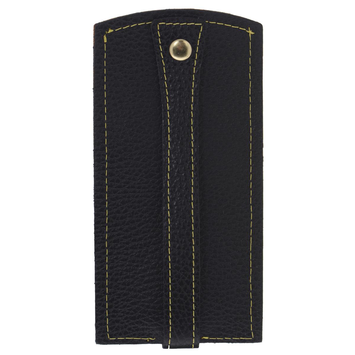 Ключница Dimanche Mumi, цвет: черный, желтый. 066Брошь-кулонИзысканная ключница Dimanche Mumi изготовлена из высококачественной натуральной кожи и декорирована фактурным тиснением. Изделие закрывается хлястиком на кнопку. На нижнем конце хлястика расположено металлическое кольцо для крепления ключей.Ключница упакована в пластиковый чехол.Модная ключница прекрасно дополнит ваш образ и станет незаменимым аксессуаром на каждый день.