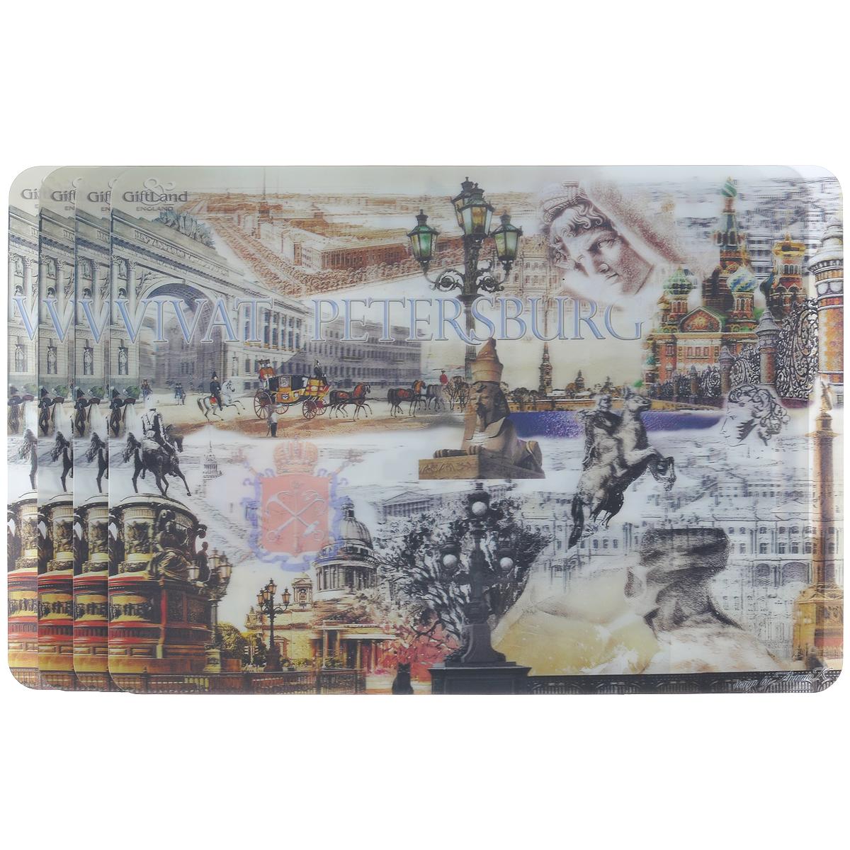 Набор сервировочных салфеток 3D GiftLand Виват Петербург, 34,5 х 24,5 см, 4 шт115510Набор GiftLand Виват Петербург, изготовленный из полипропилена, состоит из четырех сервировочных салфеток с эффектом 3D. Такие салфетки - это отличная идея для сервировки! Салфетки декорированы ярким объемным изображением достопримечательностей Санкт-Петербурга. Изделия защищают поверхность стола от воздействия температур, влаги и загрязнений, а также украшают интерьер. Могут использоваться для детского творчества (рисования, лепки из пластилина) в качестве защитного покрытия, подставки под вазы, кухонные приборы.Размер салфетки: 34,5 см х 24,5 см.