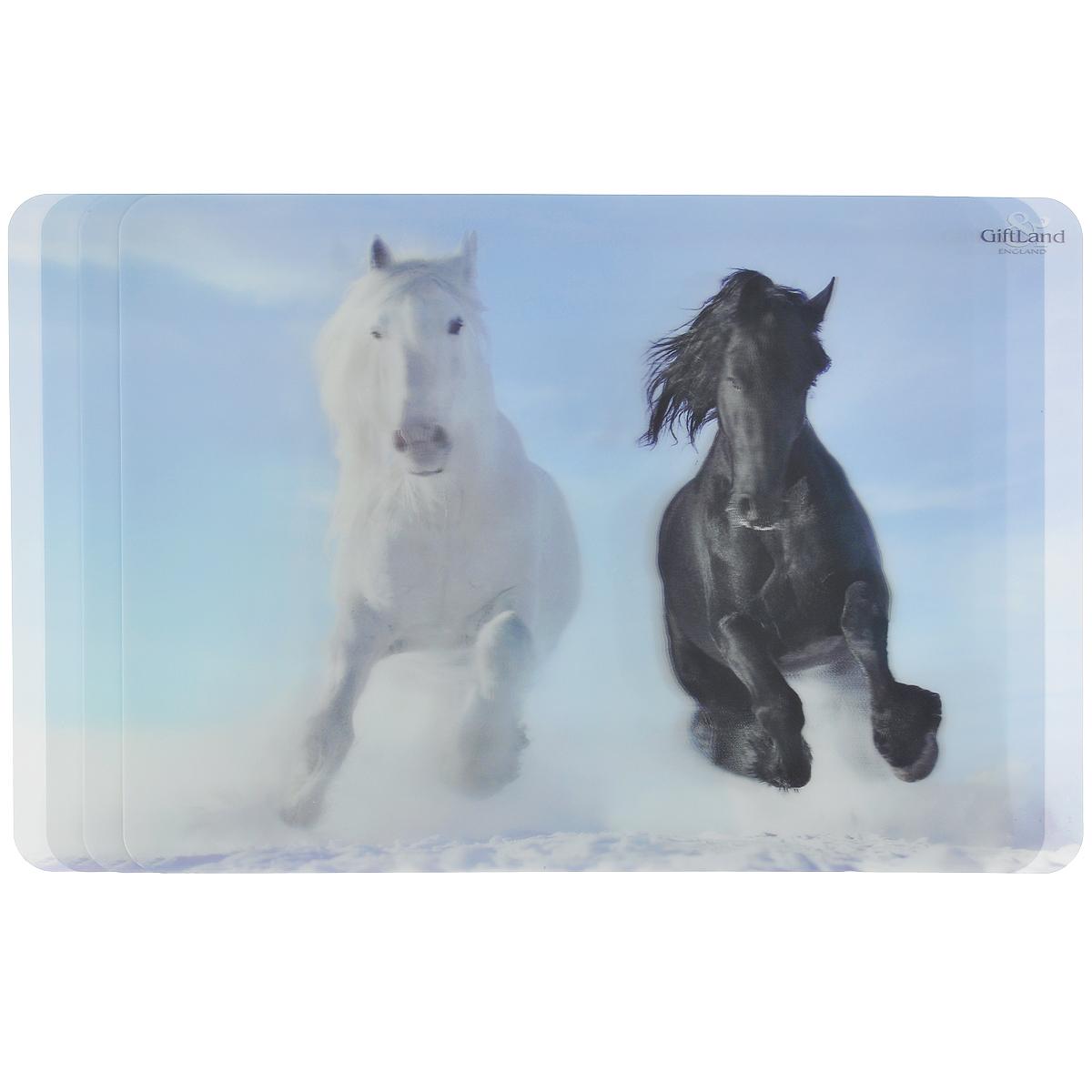 Набор сервировочных салфеток 3D GiftLand Лошади, 34,5 х 24,5 см, 4 штVT-1520(SR)Набор GiftLand Лошади, изготовленный из полипропилена, состоит из четырех сервировочных салфеток с эффектом 3D. Такие салфетки - это отличная идея для сервировки! Салфетки декорированы ярким объемным изображением черной и белой лошадей. Изделия защищают поверхность стола от воздействия температур, влаги и загрязнений, а также украшают интерьер. Могут использоваться для детского творчества (рисования, лепки из пластилина) в качестве защитного покрытия, подставки под вазы, кухонные приборы.Размер салфетки: 34,5 см х 24,5 см.