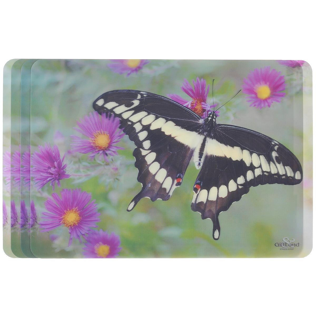 Набор сервировочных салфеток 3D GiftLand Черная бабочка, 34,5 см х 24,5 см, 4 шт11055Набор GiftLand Черная бабочка, изготовленный из полипропилена, состоит из четырех сервировочных салфеток с эффектом 3D. Такие салфетки - это отличная идея для сервировки! Салфетки декорированы ярким объемным изображением бабочки и цветов. Изделия защищают поверхность стола от воздействия температур, влаги и загрязнений, а также украшают интерьер. Могут использоваться для детского творчества (рисования, лепки из пластилина) в качестве защитного покрытия, подставки под вазы, кухонные приборы.Размер салфетки: 34,5 см х 24,5 см.