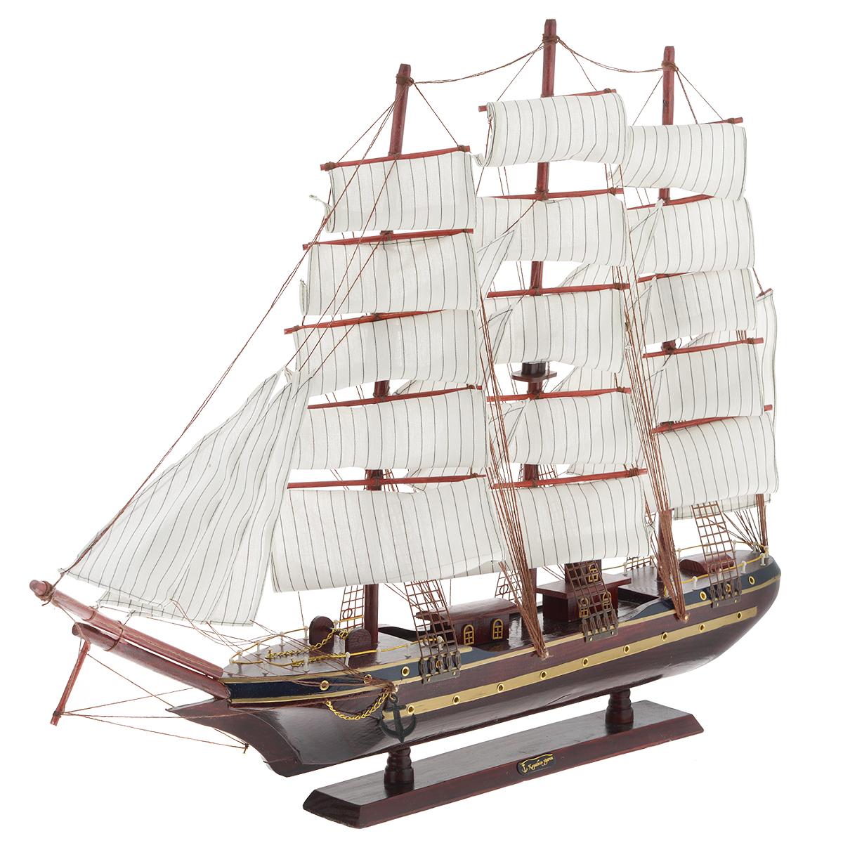 Корабль сувенирный Корабль удачи, длина 78 смNLED-420-1.5W-RСувенирный корабль Корабль удачи, изготовленный из дерева и текстиля, это великолепный элемент декора рабочей зоны в офисе или кабинете. Корабль с парусами и якорями помещен на деревянную подставку. Время идет, и мы становимся свидетелями развития технического прогресса, новых учений и практик. Но одно не подвластно времени - это любовь человека к морю и кораблям. Сувенирный корабль наполнен историей и силой океанских вод. Данная модель кораблика станет отличным подарком для всех любителей морей, поклонников историй о покорении океанов и неизведанных земель. Модель корабля - подарок со смыслом. Издавна на Руси считалось, что корабли приносят удачу и везение. Поэтому их изображения, фигурки и точные копии всегда присутствовали в помещениях. Удивите себя и своих близких необычным презентом.