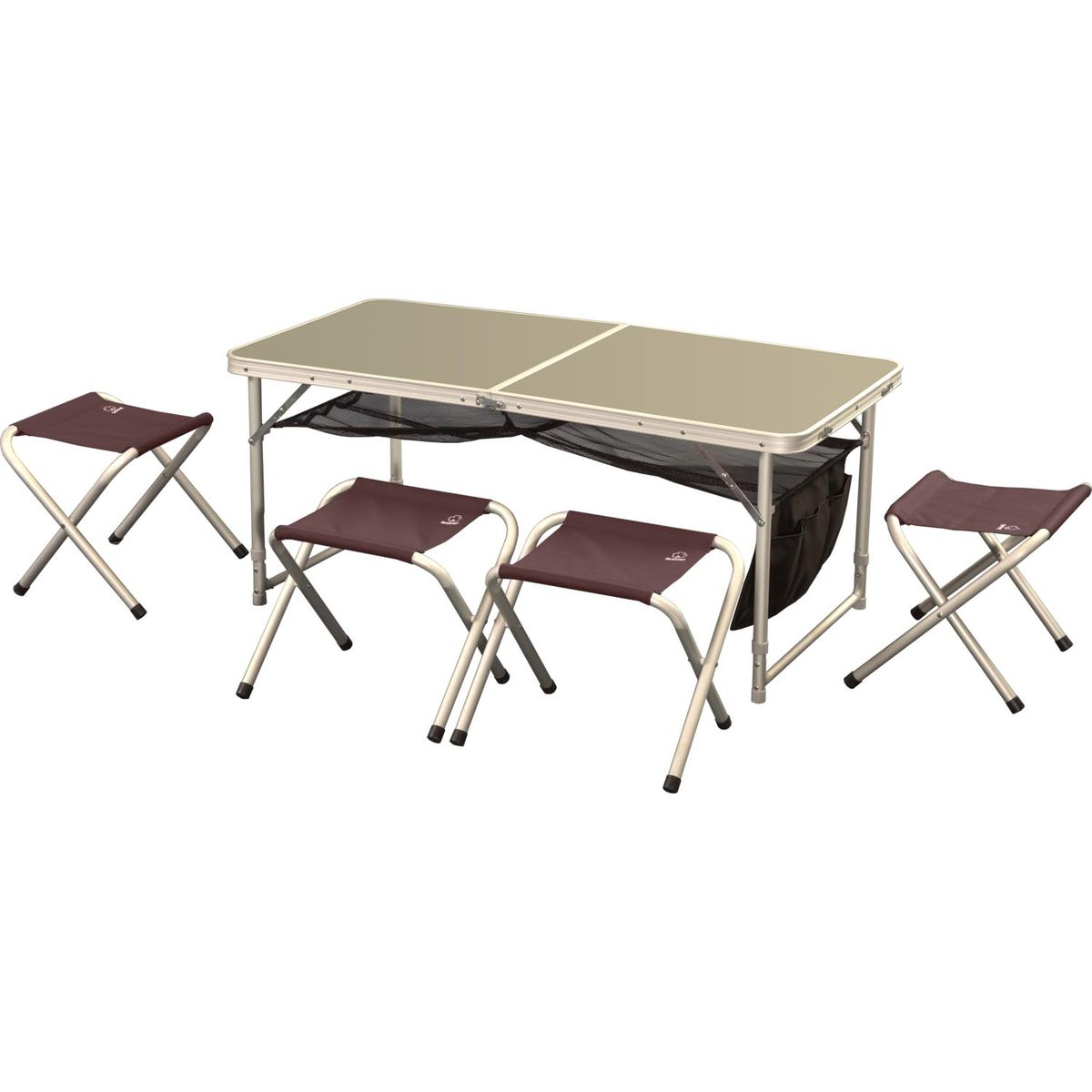 Набор складной мебели Greenell FTFS-1, 5 предметов71241-232-00Легкий складной набор Greenell FTFS-1 предназначен для создания комфортных условий в туристических походах, охоте, рыбалке и кемпинге. Включает в себя стол и 4 табурета. Табуреты убираются внутрь стола для удобной транспортировки. В сложенном виде набор занимает мало места. Каркас предметов выполнен из прочного алюминия. Столешница - фибролит. Табуреты выполнены из полиэстера.В комплекте сумка-чехол.Размер стола: 120 см х 60 см х 70 см.