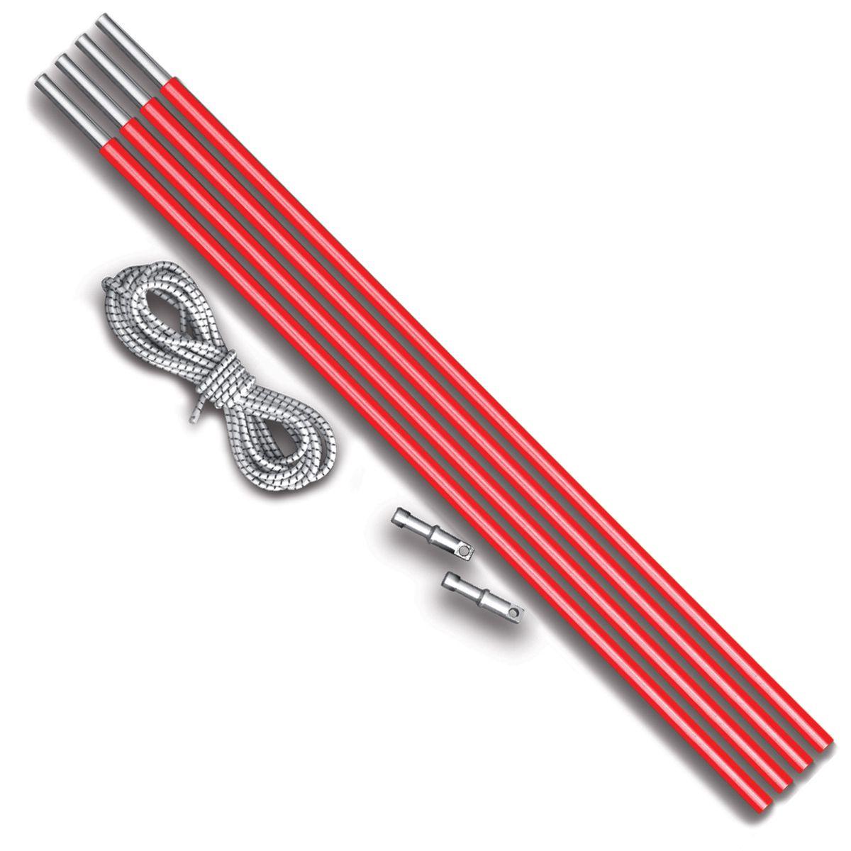 Комплект дуг алюминий Nova Tour v2, цвет: красный металлик, диаметр 8,5 мм0003929Ремонтный набор Nova Tour v2 предназначен для дуговых палаток. Подойдет для моделей: Эксплорер, Смарт, Терра и Спейс. В комплекте 4 секции по 50 см, 2 наконечника и 2 метра внутренней резинки. Яркие, не теряются в траве!