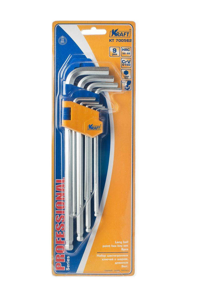 Набор ключей шестигранных Kraft Professional, с шаром, 1,5 мм - 10 мм, 9 штAquatak 35-12 PlusНабор шестигранных удлиненных ключей Kraft Professional предназначен для работы с крепежными элементами, имеющими внутренний шестигранник. Каждый ключ изготовлен из хромованадиевой стали и оснащен шаровым наконечником, который позволяет работать в труднодоступных местах под углом до 25 градусов. В набор входят ключи: 1,5 мм, 2 мм, 2,5 мм, 3 мм, 4 мм, 5 мм, 6 мм, 8 мм, 10 мм.