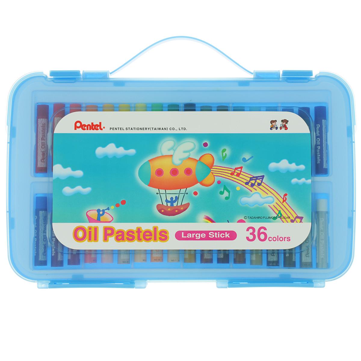 Пастель масляная Pentel Oil Pastels, в цветном боксе, 36 цветов128324Пастель масляная Pentel Oil Pastels изготовлена из натуральных компонентов и не содержит вредных примесей. Соответствует европейскому стандарту качества EN71, утвержденному для детских товаров. Пастелью можно рисовать в любой технике (в сочетании с цветными карандашами, красками). При работе пастелью лучше использовать шероховатые поверхности - специальные бумаги, картон, холст. Пастель отличают яркие долговечные цвета, стойкие к воздействию света. Легко наносится на поверхность, образуя как яркие насыщенные цвета, так и легкие полутона и тени. Для удобства использования краски имеют форму мелков с увеличенным диаметром. Набор упакован в пластиковый бокс. Длина мелка: 6 см. Количество цветов: 36.